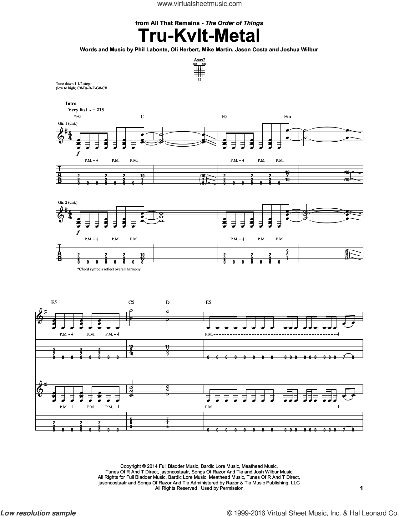 Tru-Kvlt-Metal sheet music for guitar (tablature) by All That Remains. Score Image Preview.