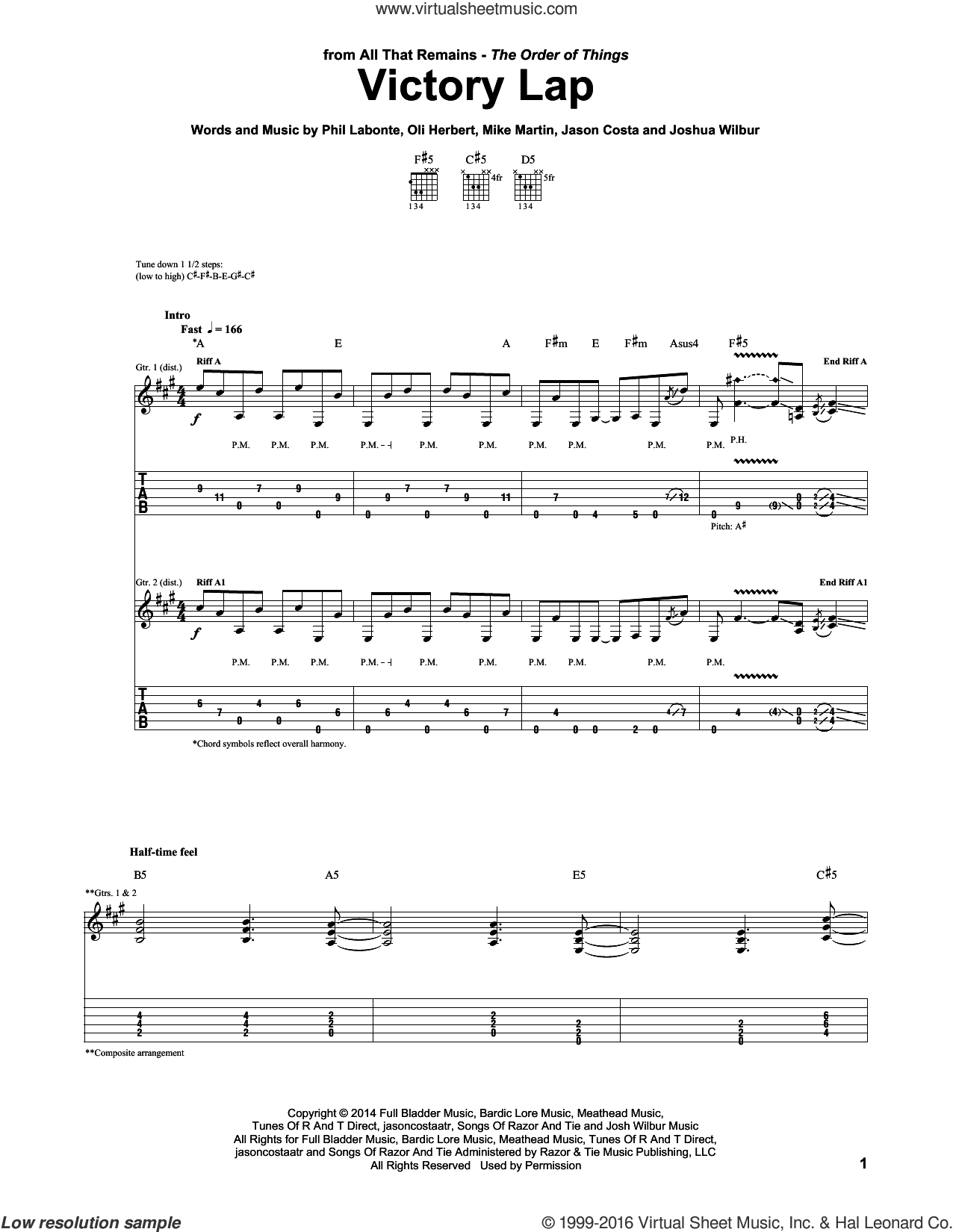 Victory Lap sheet music for guitar (tablature) by Phil Labonte, All That Remains and Mike Martin. Score Image Preview.