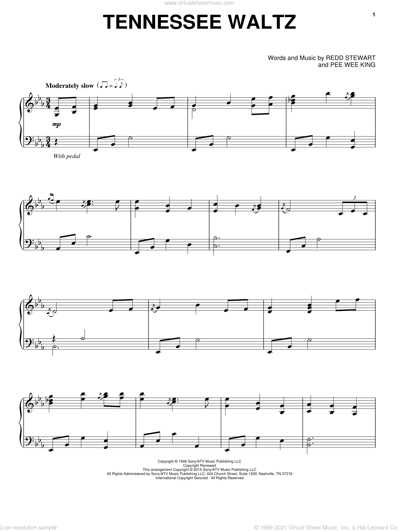 Tennessee Waltz sheet music for piano solo by Patty Page, Patti Page, Pee Wee King and Redd Stewart, intermediate skill level