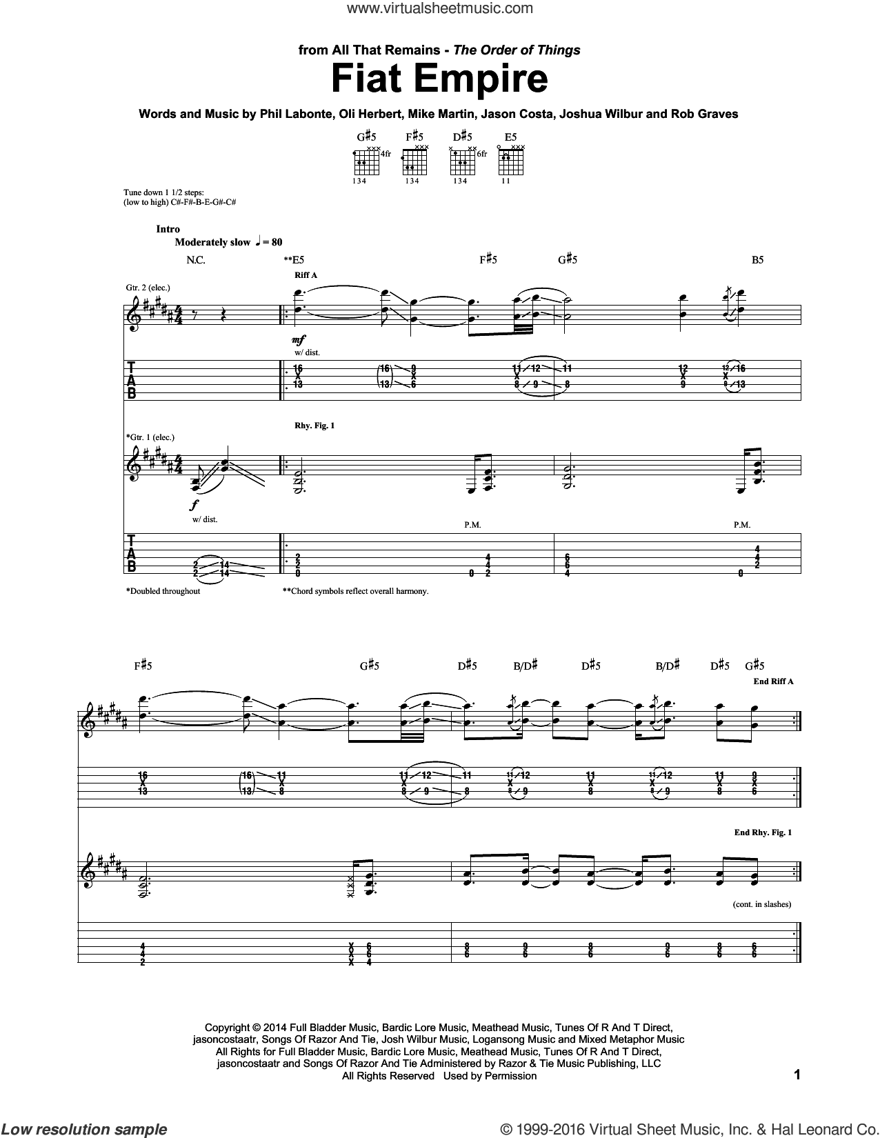 Fiat Empire sheet music for guitar (tablature) by Rob Graves, All That Remains, Mike Martin and Phil Labonte. Score Image Preview.