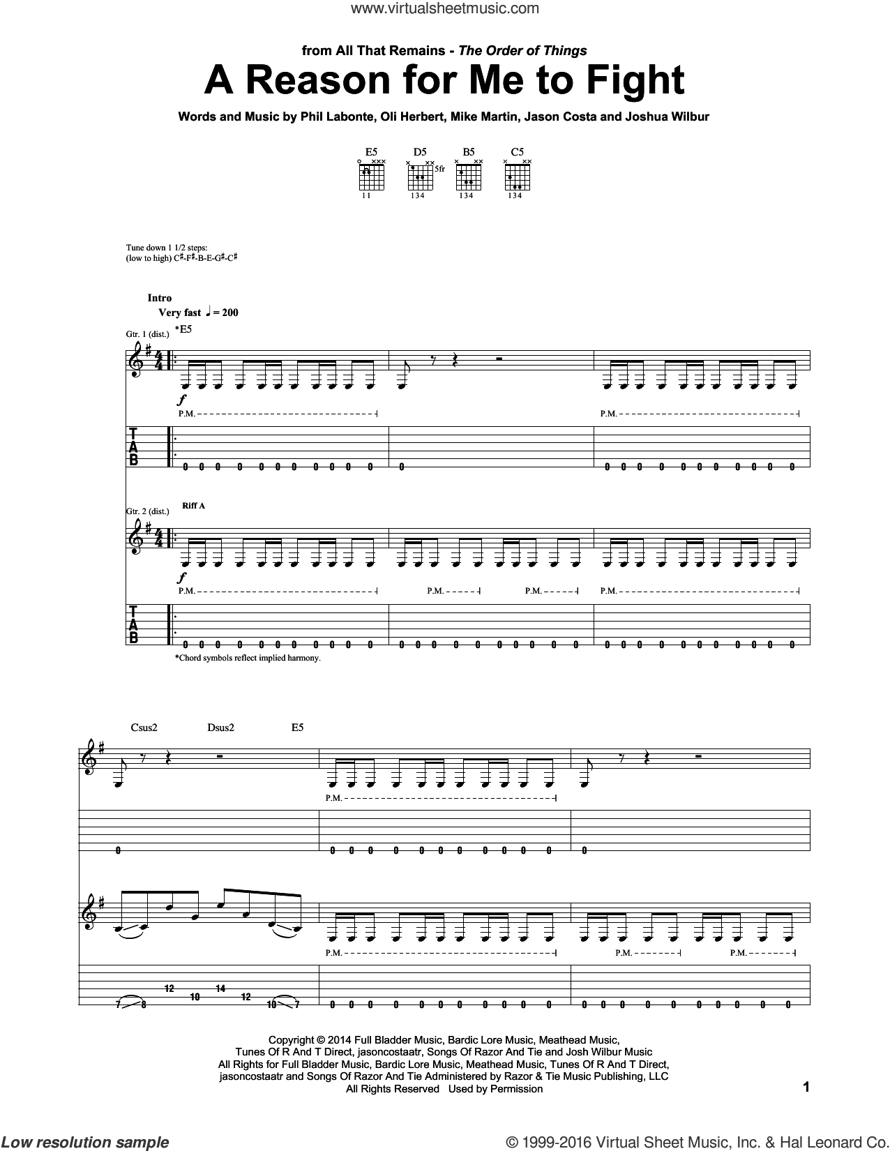 A Reason For Me To Fight sheet music for guitar (tablature) by All That Remains, intermediate. Score Image Preview.