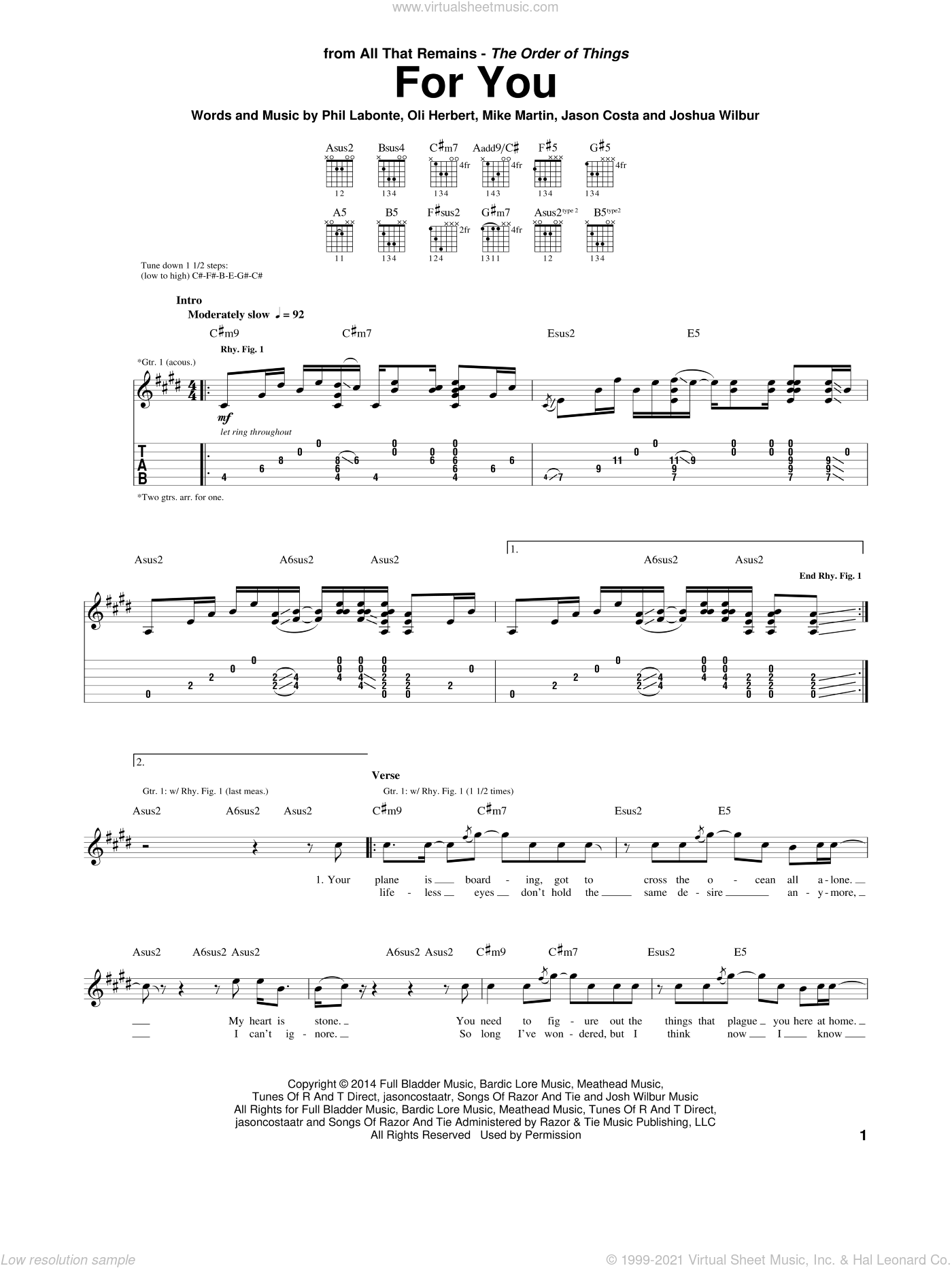 For You sheet music for guitar (tablature) by All That Remains, intermediate. Score Image Preview.