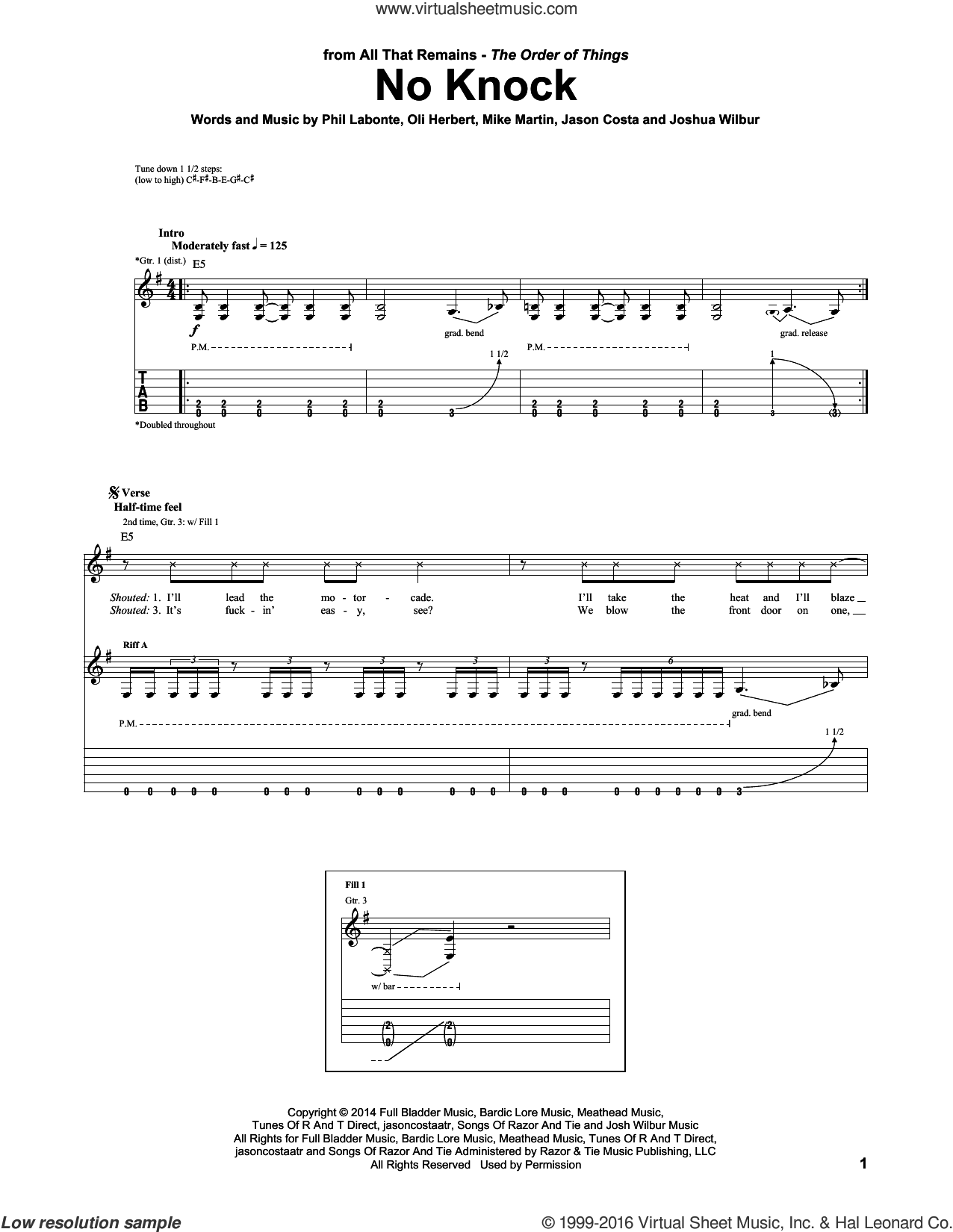 No Knock sheet music for guitar (tablature) by Phil Labonte, All That Remains and Mike Martin. Score Image Preview.