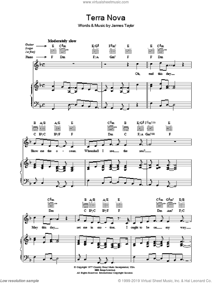 Terra Nova sheet music for voice, piano or guitar by James Taylor, intermediate skill level
