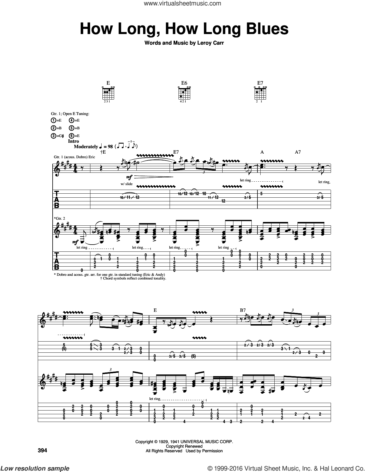 How Long Blues (How Long, How Long Blues) sheet music for guitar (tablature) by Eric Clapton and Leroy Carr. Score Image Preview.