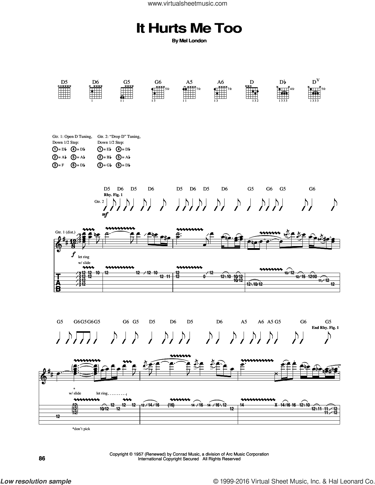 It Hurts Me Too sheet music for guitar (tablature) by Mel London, Elmore James, Elvis Presley and Eric Clapton. Score Image Preview.