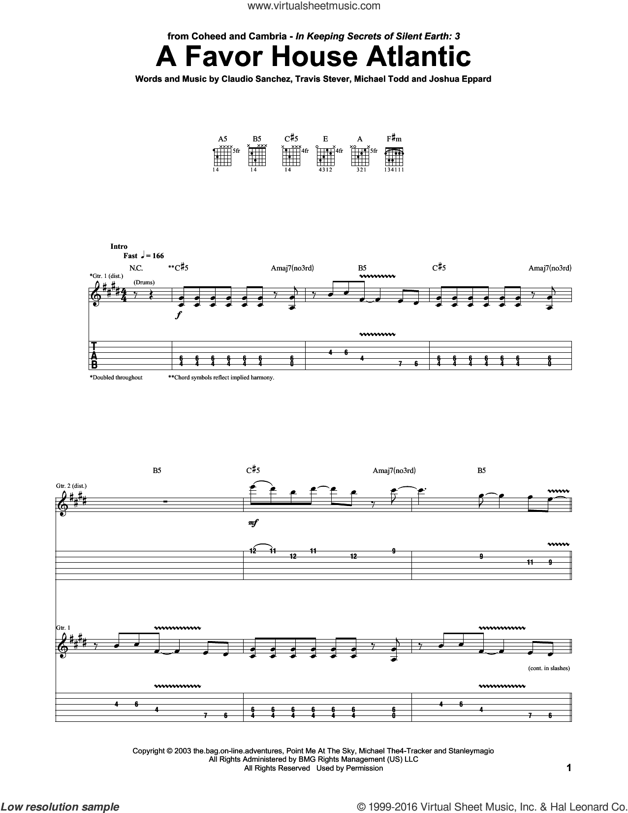 A Favor House Atlantic sheet music for guitar (tablature) by Travis Stever, Claudio Sanchez and Joshua Eppard. Score Image Preview.