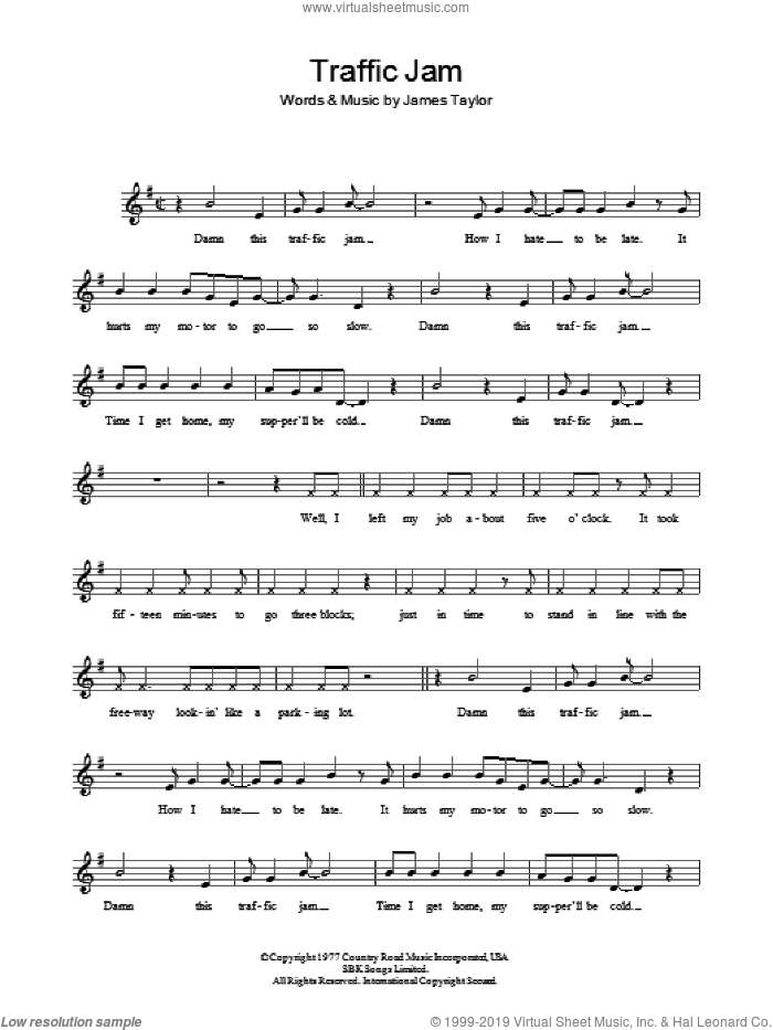 Traffic Jam sheet music for voice and other instruments (fake book) by James Taylor, intermediate voice. Score Image Preview.