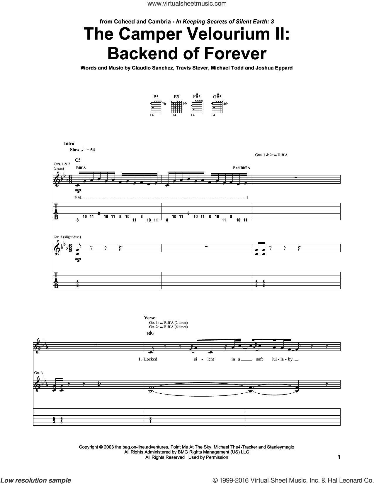 The Camper Velourium II: Backend Of Forever sheet music for guitar (tablature) by Coheed And Cambria, intermediate guitar (tablature). Score Image Preview.