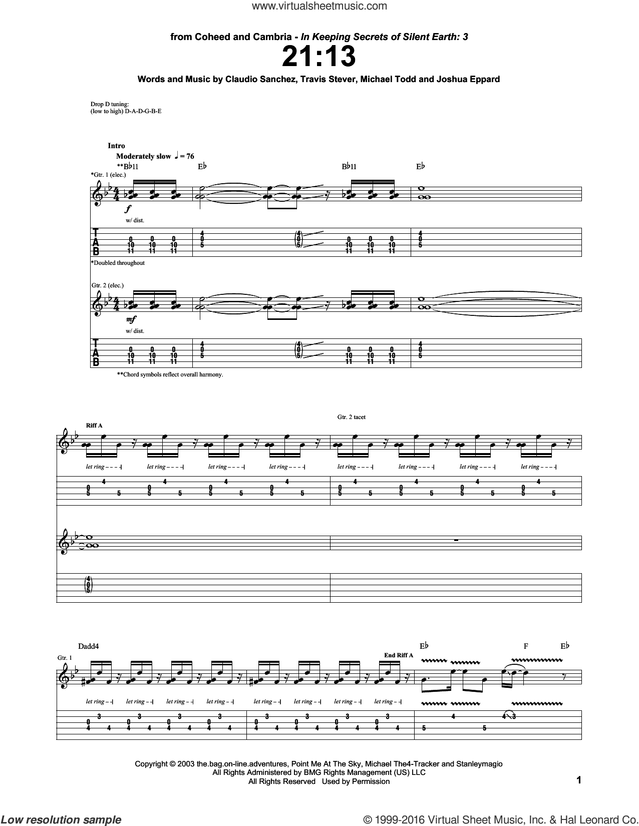 21:13 sheet music for guitar (tablature) by Coheed And Cambria, Claudio Sanchez, Joshua Eppard, Michael Todd and Travis Stever, intermediate skill level