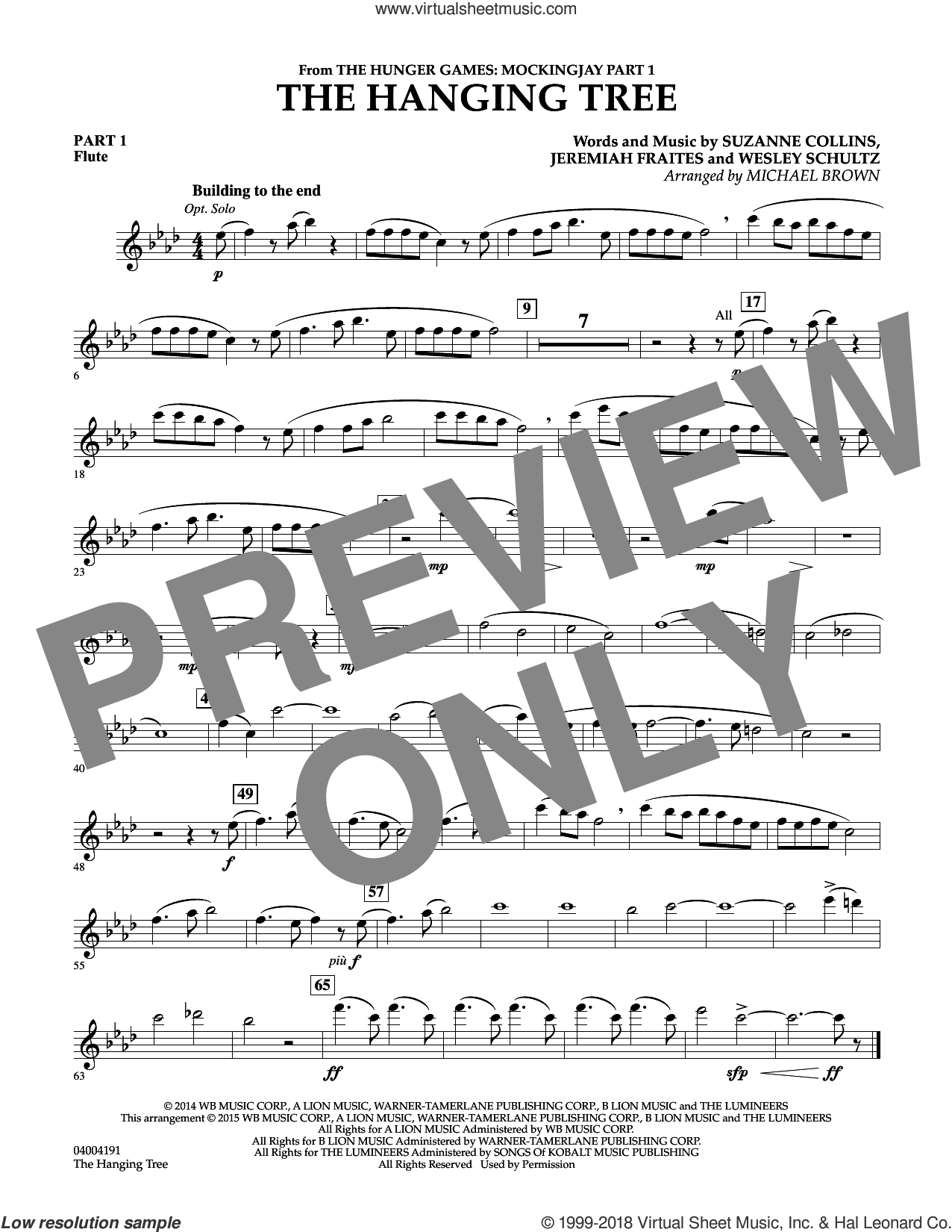 The Hanging Tree (from The Hunger Games: Mockingjay Part 1) sheet music for concert band (pt.1 - flute) by Michael Brown, James Newton Howard, Jeremiah Fraites, Suzanne Collins and Wesley Schultz, intermediate skill level