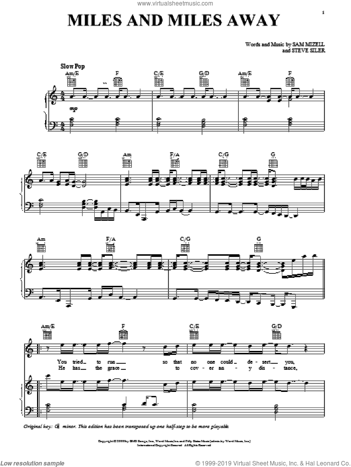 Miles And Miles Away sheet music for voice, piano or guitar by David Phelps, Sam Mizell and Steve Siler, intermediate skill level