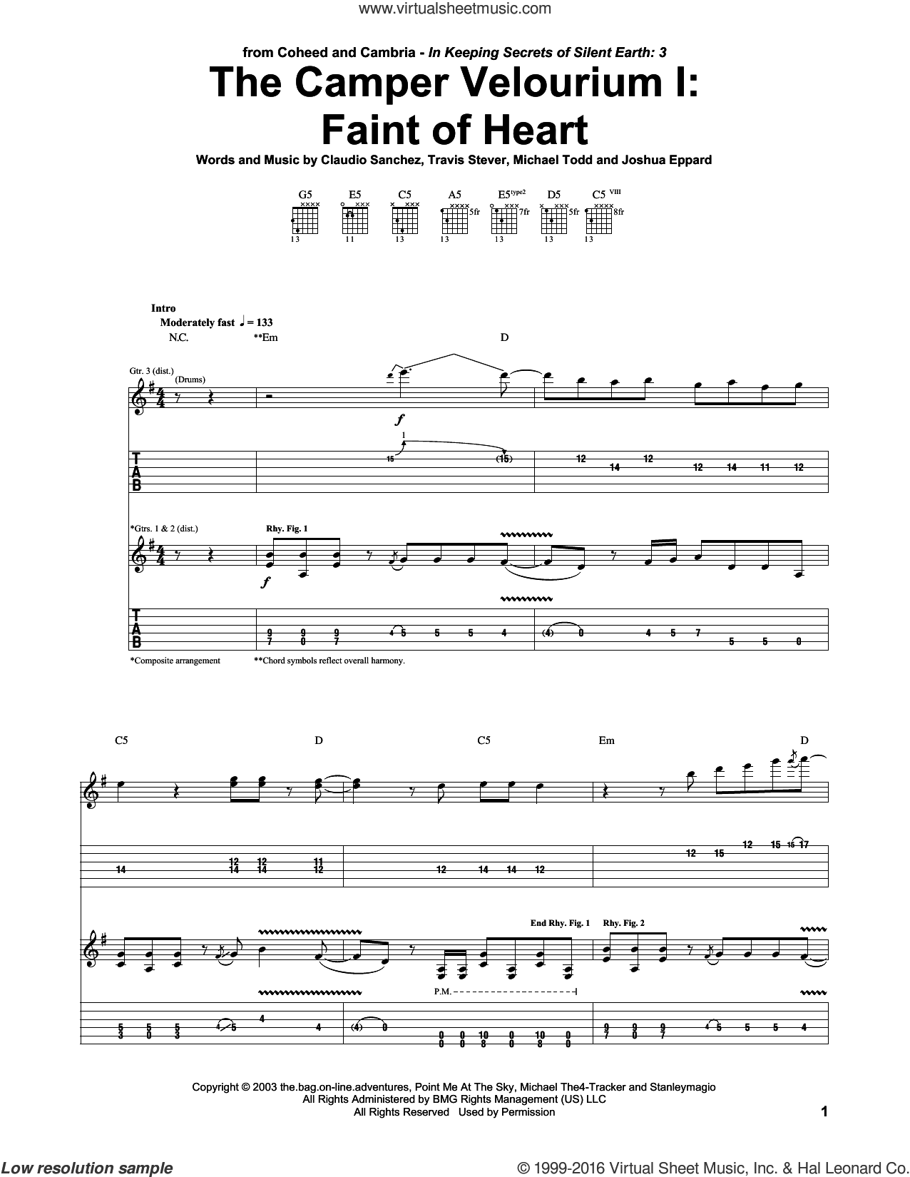 The Camper Velourium I: Faint Of Heart sheet music for guitar (tablature) by Coheed And Cambria. Score Image Preview.