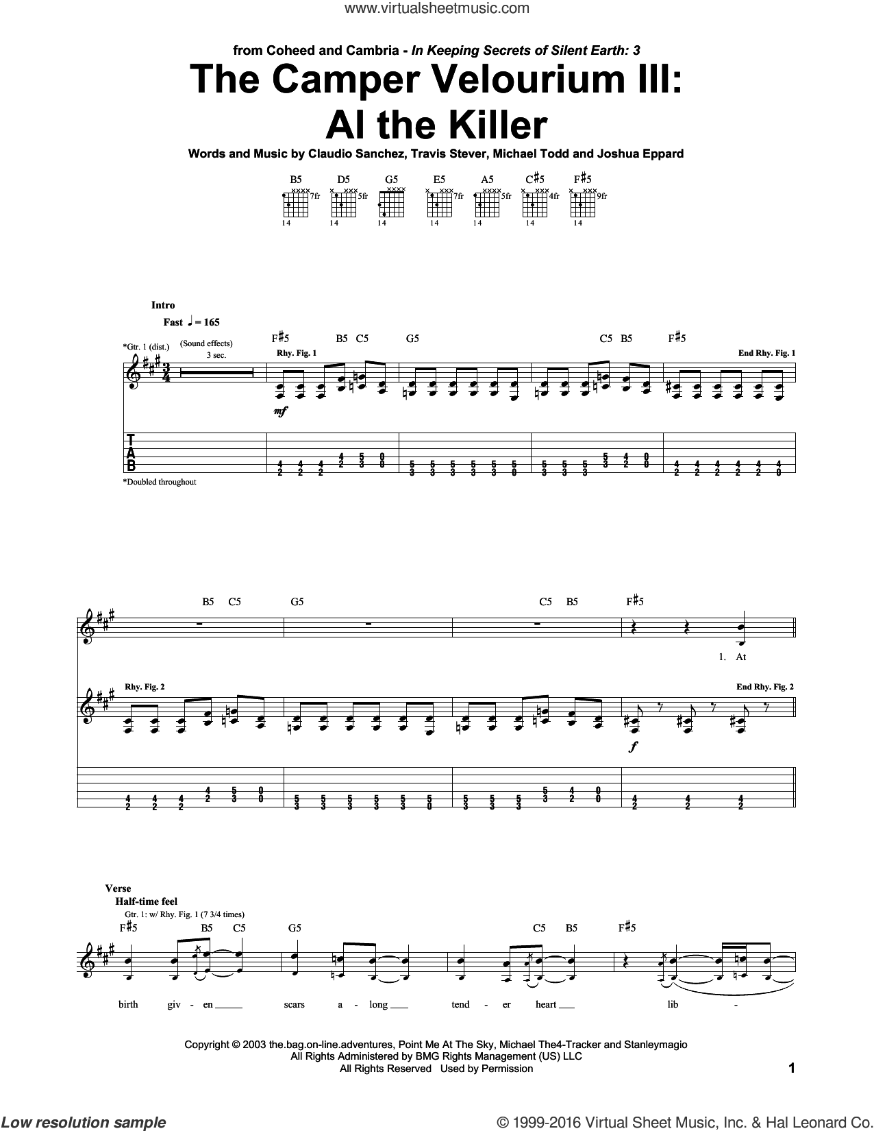 The Camper Velourium III: Al The Killer sheet music for guitar (tablature) by Coheed And Cambria, intermediate guitar (tablature). Score Image Preview.