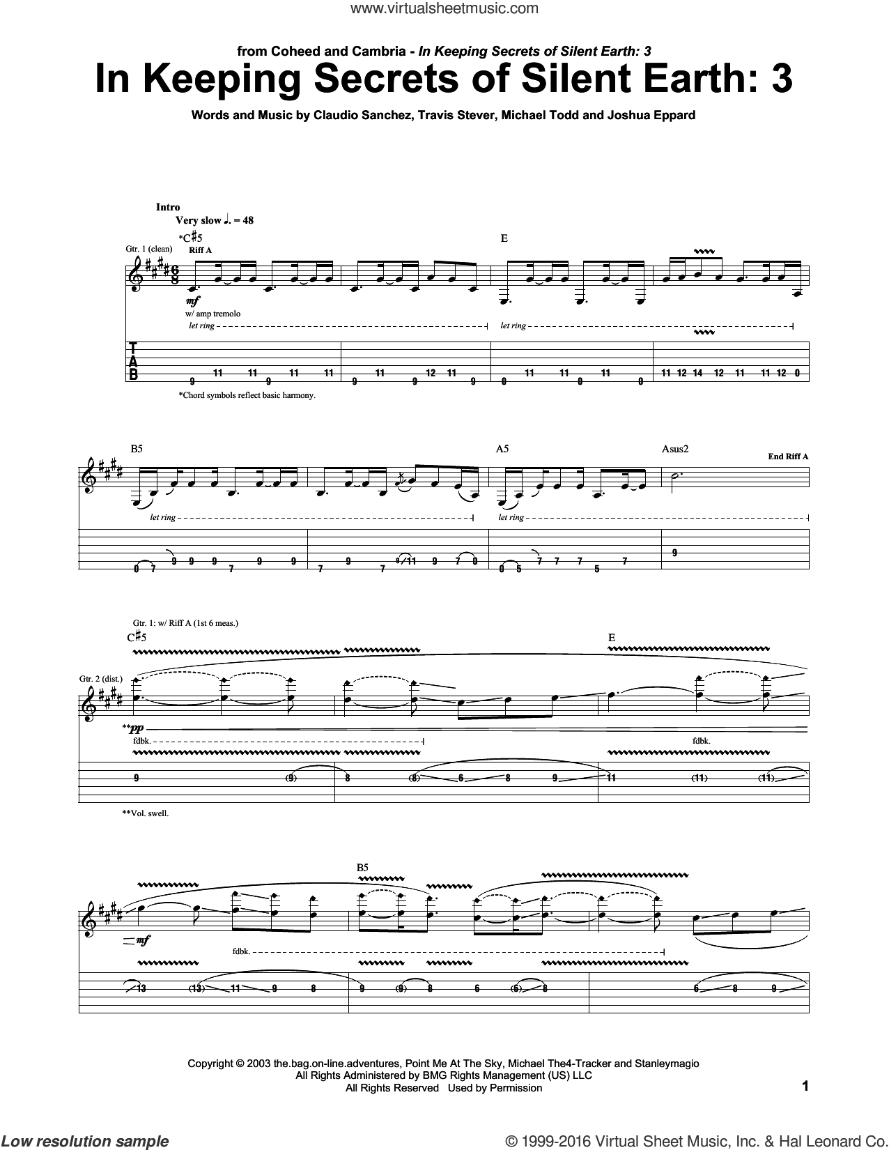 In Keeping Secrets Of Silent Earth: 3 sheet music for guitar (tablature) by Coheed And Cambria, Claudio Sanchez, Joshua Eppard, Michael Todd and Travis Stever, intermediate skill level