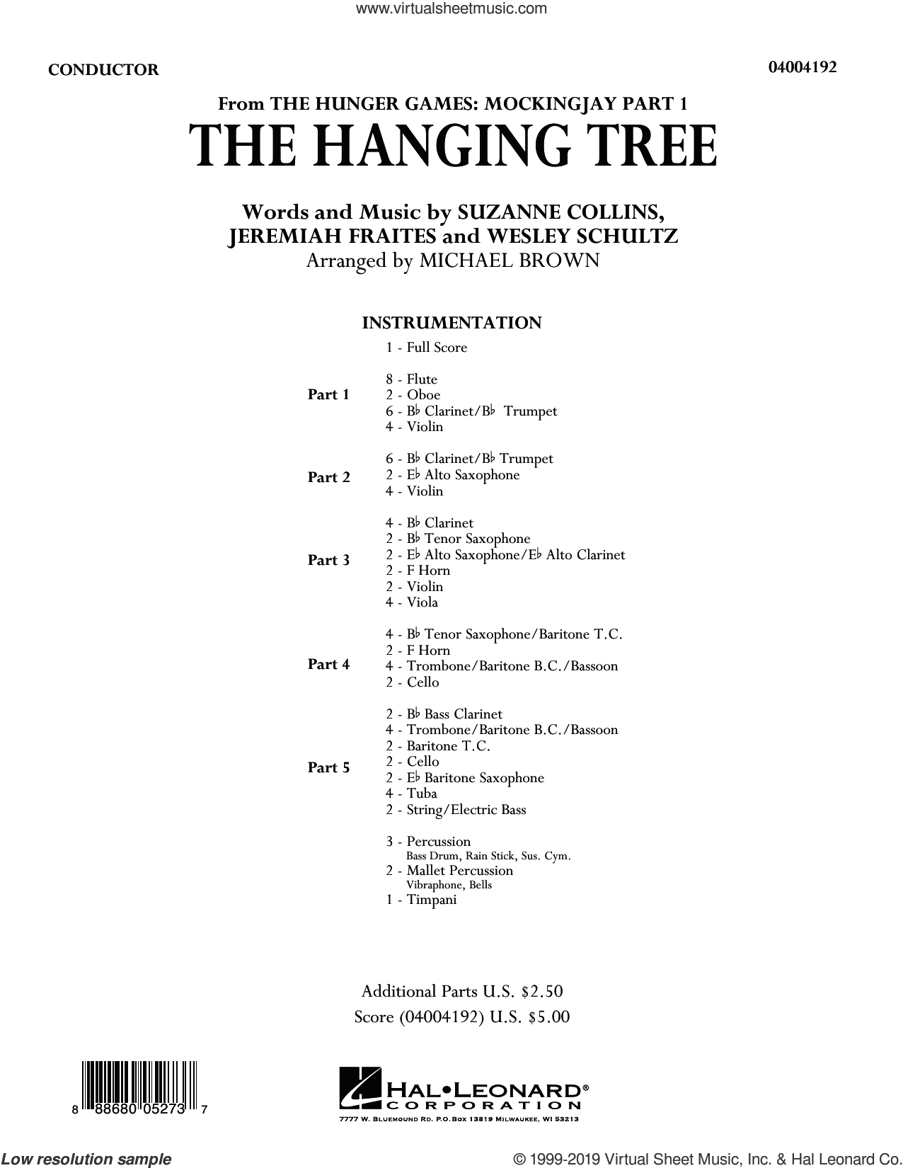The Hanging Tree (COMPLETE) sheet music for concert band by Michael Brown, James Newton Howard, Jeremiah Fraites, Suzanne Collins and Wesley Schultz, intermediate skill level