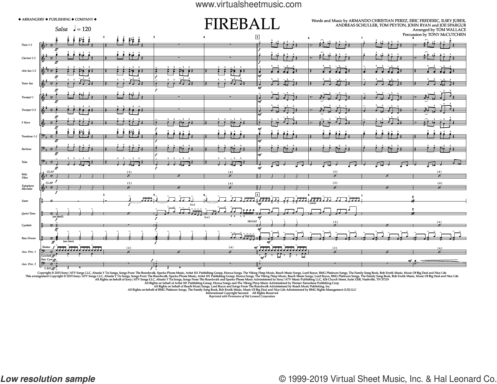 Fireball (COMPLETE) sheet music for marching band by Tom Wallace, Andreas Schuller, Armando Perez, Eric Frederic, Ilsey Juber, John Ryan, Joseph Spargur, Pitbull feat. John Ryan and Tom Peyton, intermediate skill level