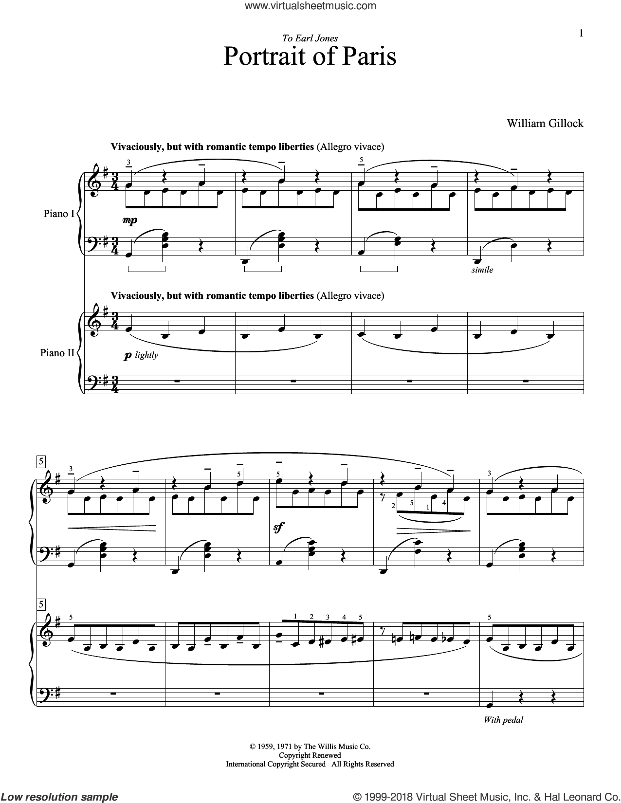Portrait Of Paris sheet music for piano four hands (duets) by William Gillock. Score Image Preview.