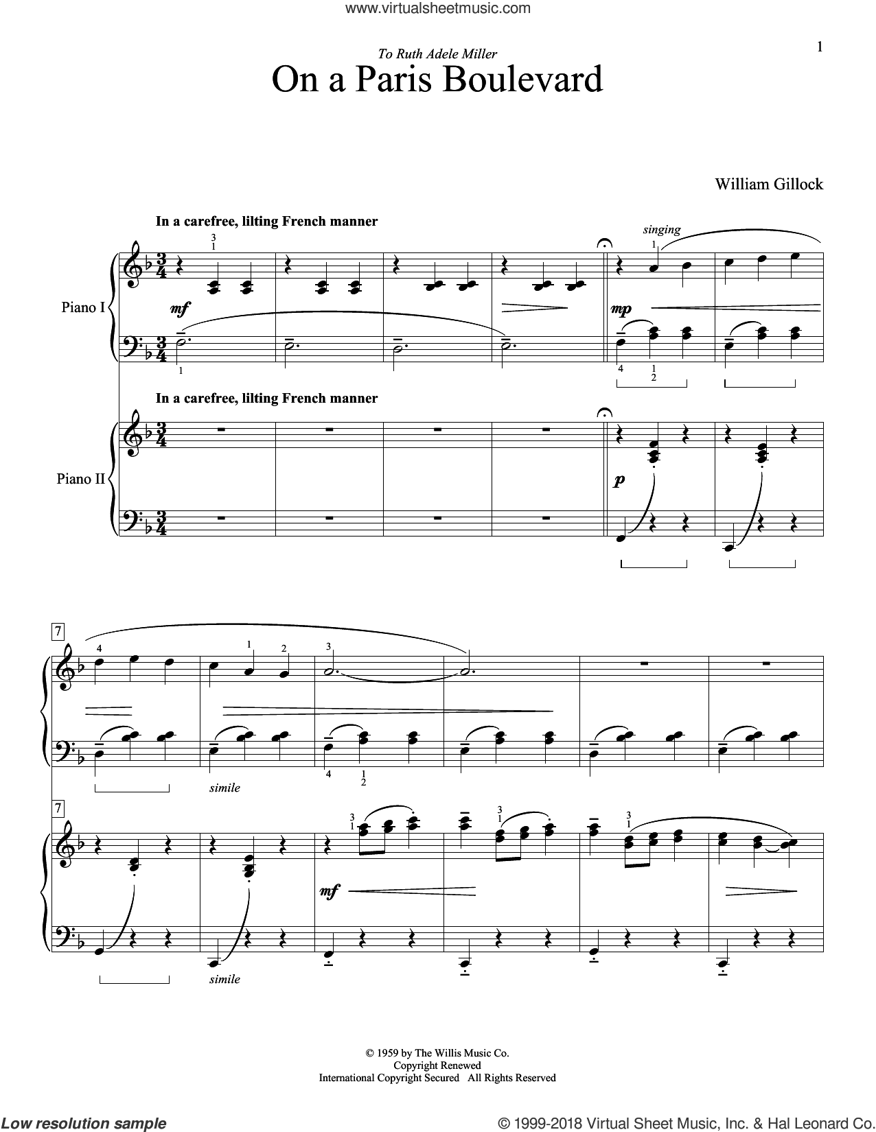 On A Paris Boulevard sheet music for piano four hands by William Gillock, intermediate skill level