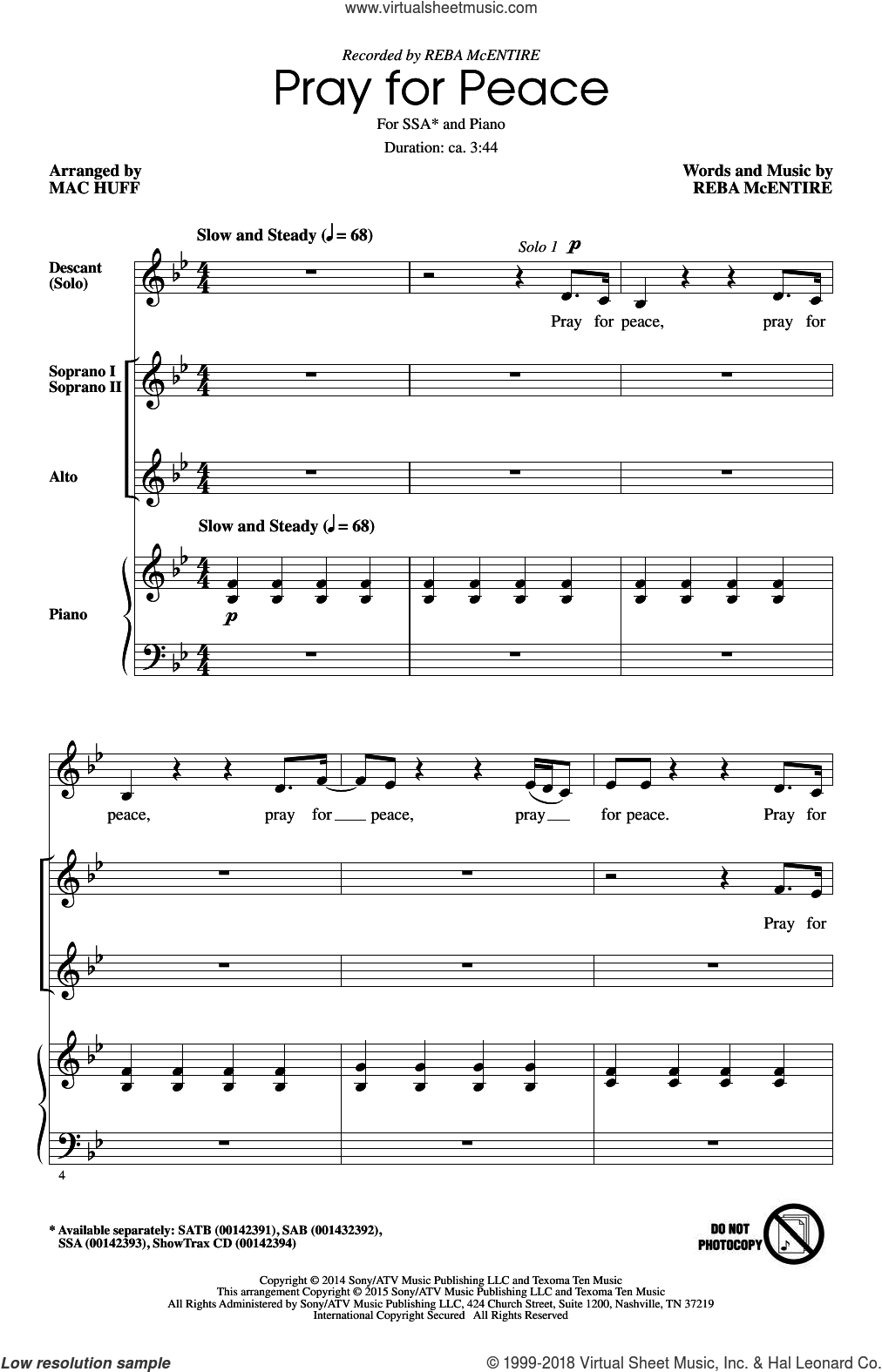 Pray For Peace sheet music for choir (SSA: soprano, alto) by Mac Huff and Reba McEntire, intermediate. Score Image Preview.