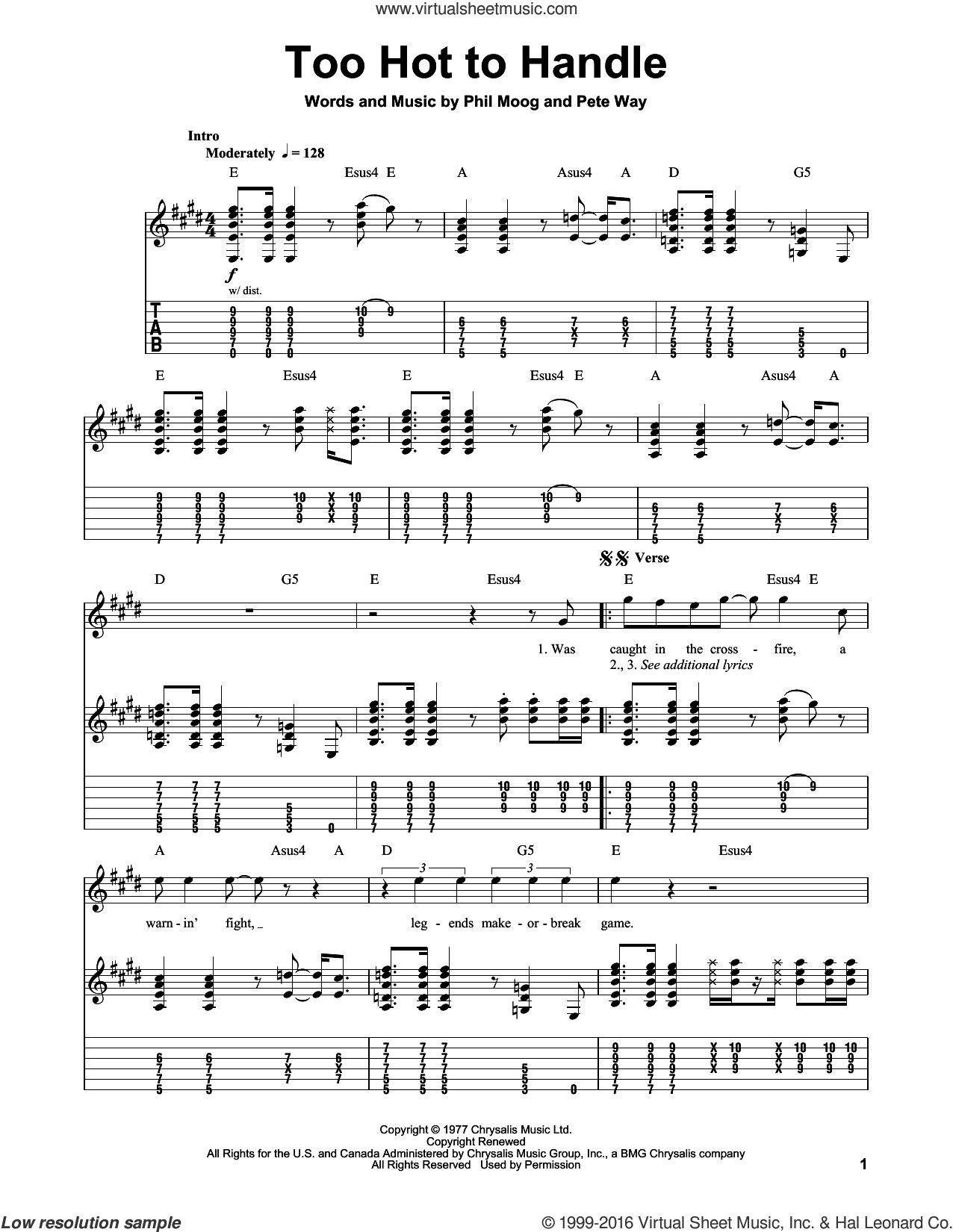 Too Hot To Handle sheet music for guitar (tablature, play-along) by UFO, Pete Way and Phil Moog, intermediate