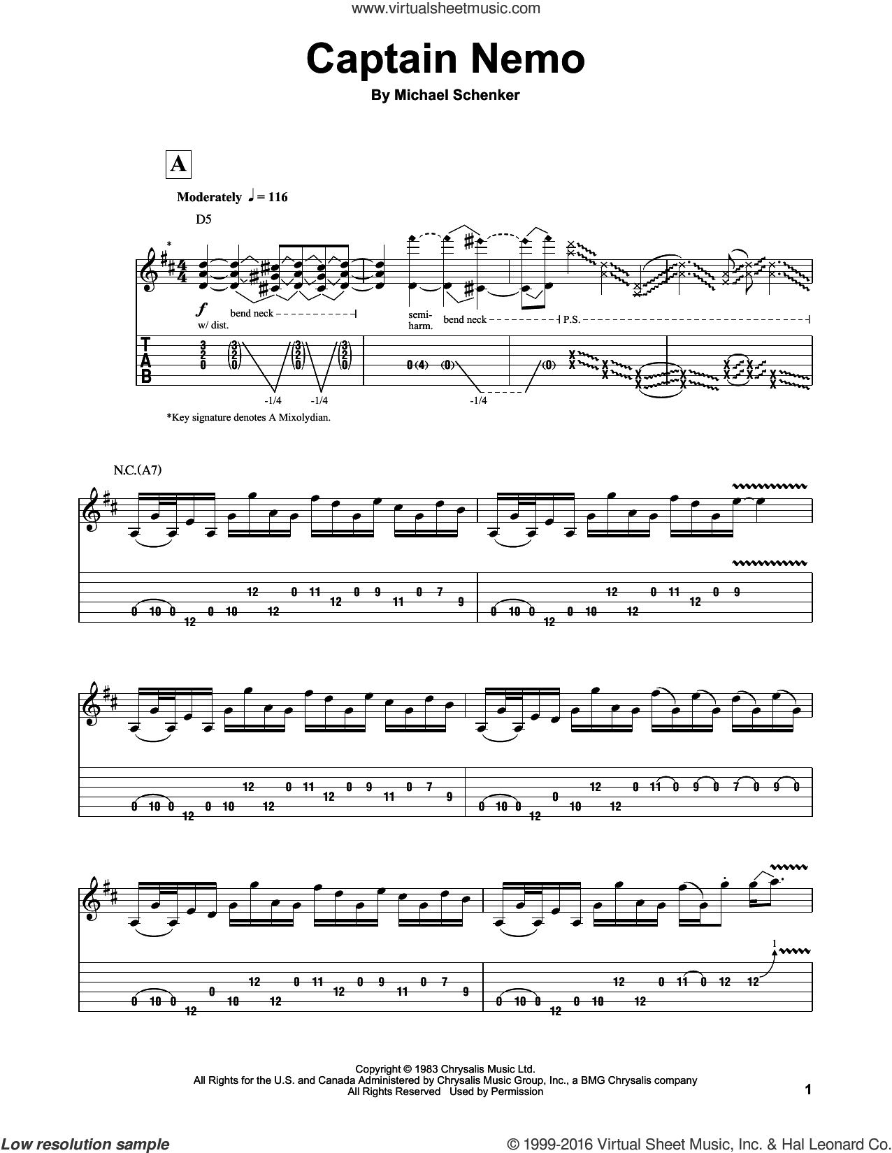 Captain Nemo sheet music for guitar (tablature, play-along) by Michael Schenker Group and Michael Schenker, intermediate skill level