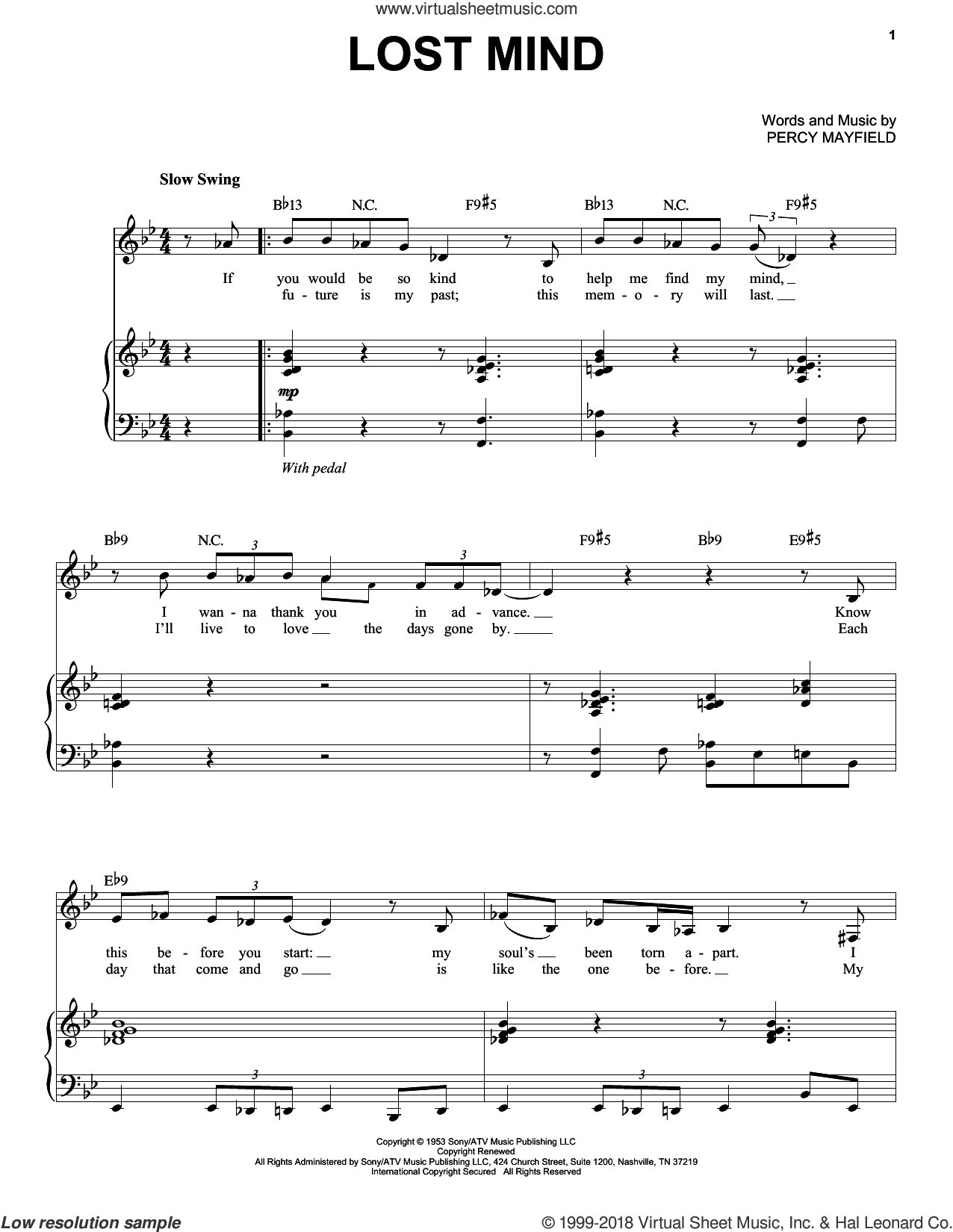 Lost Mind sheet music for voice and piano by Percy Mayfield, Diana Krall and Mose Allison. Score Image Preview.