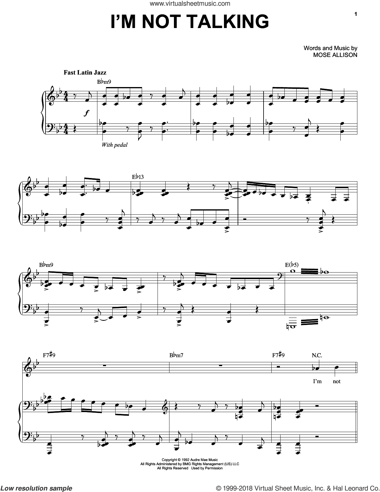 I'm Not Talking sheet music for voice and piano by Mose Allison. Score Image Preview.