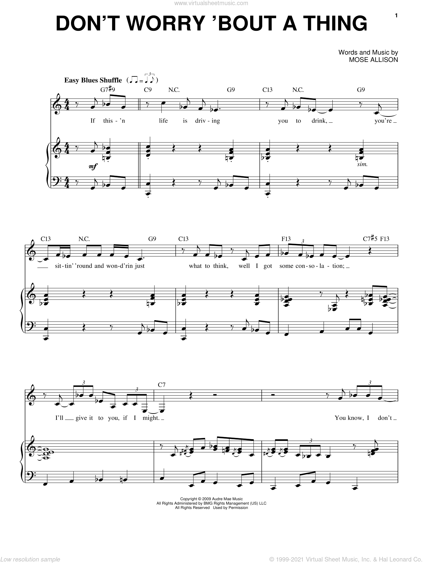 Don't Worry About A Thing sheet music for voice and piano by Mose Allison. Score Image Preview.