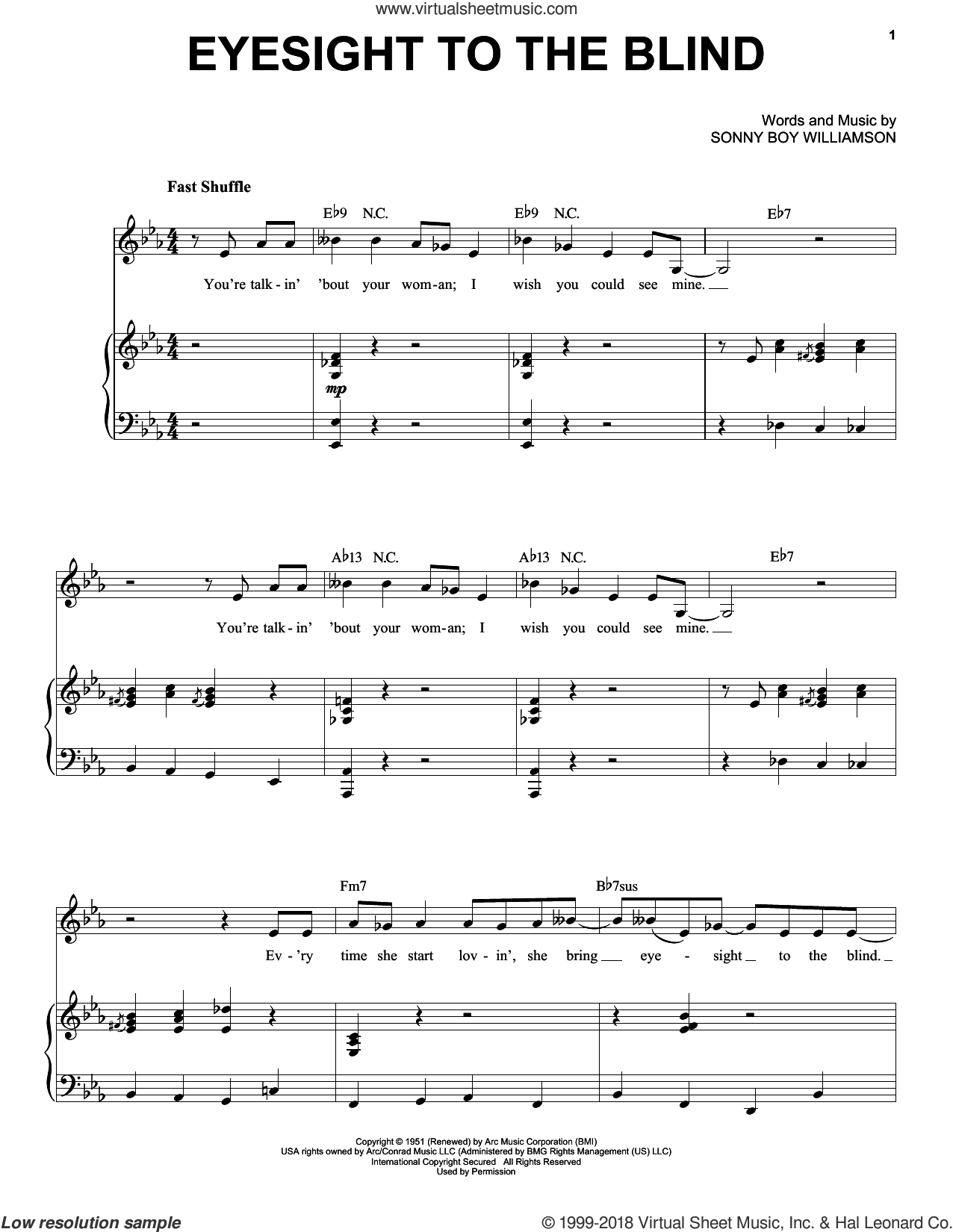 Eyesight To The Blind sheet music for voice and piano by Mose Allison and Sonny Boy Williamson, intermediate skill level