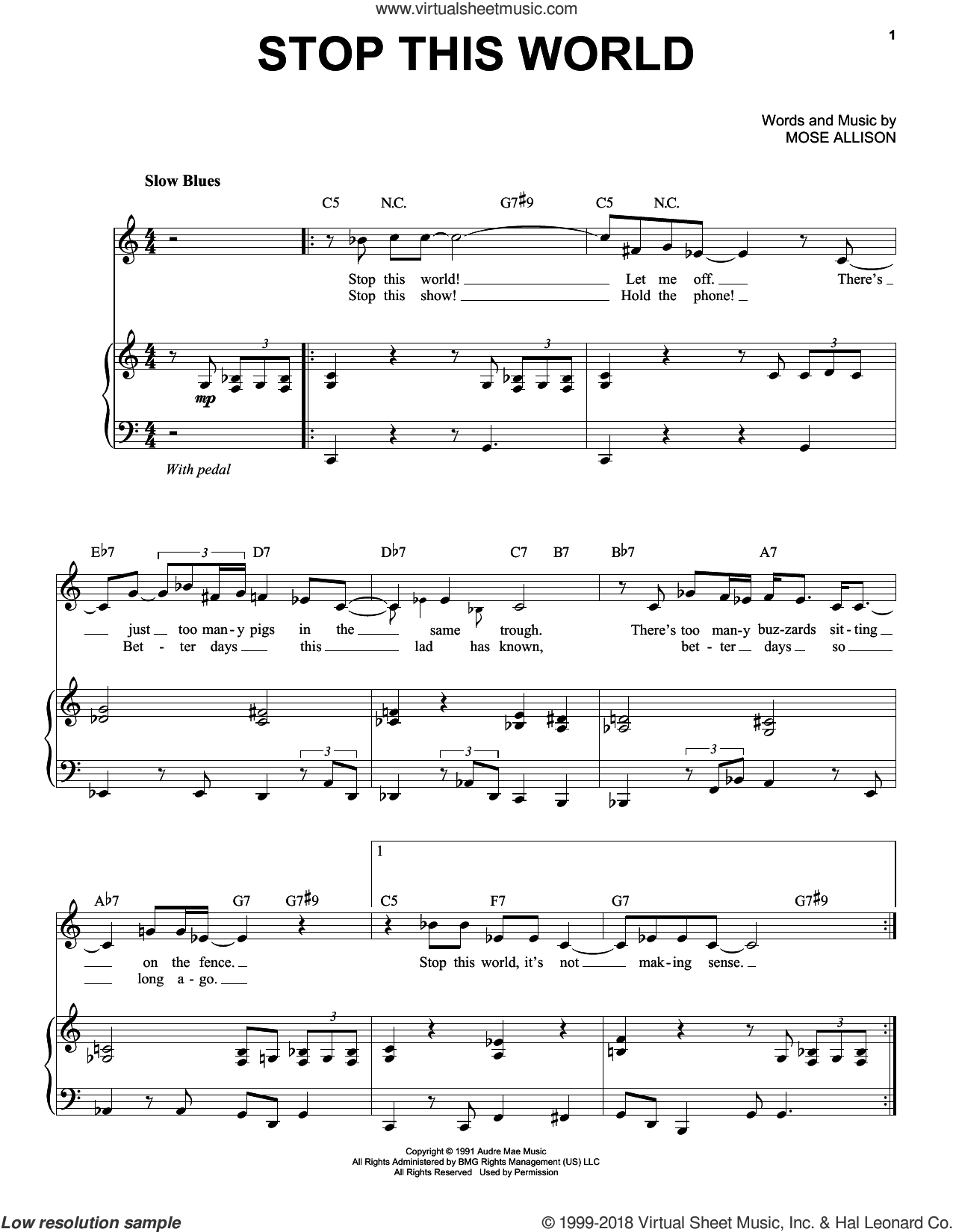 Stop This World sheet music for voice and piano by Mose Allison