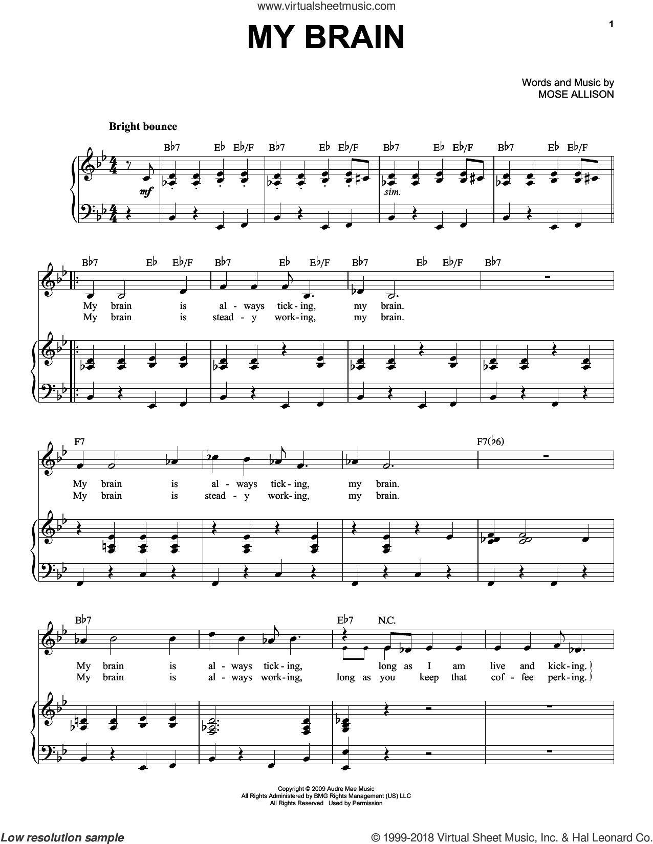 My Brain sheet music for voice and piano by Mose Allison. Score Image Preview.