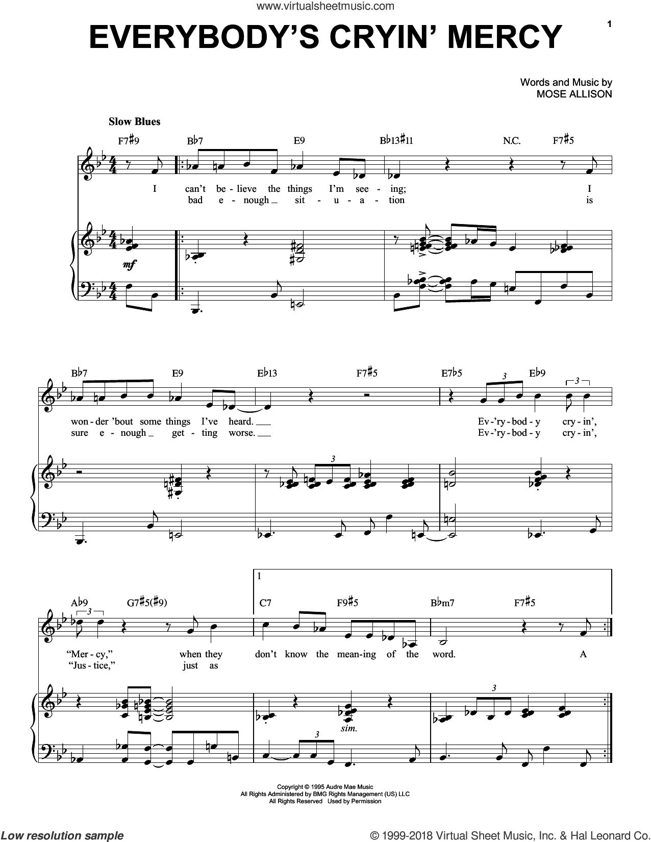 Everybody's Cryin' Mercy sheet music for voice and piano by Mose Allison, intermediate skill level
