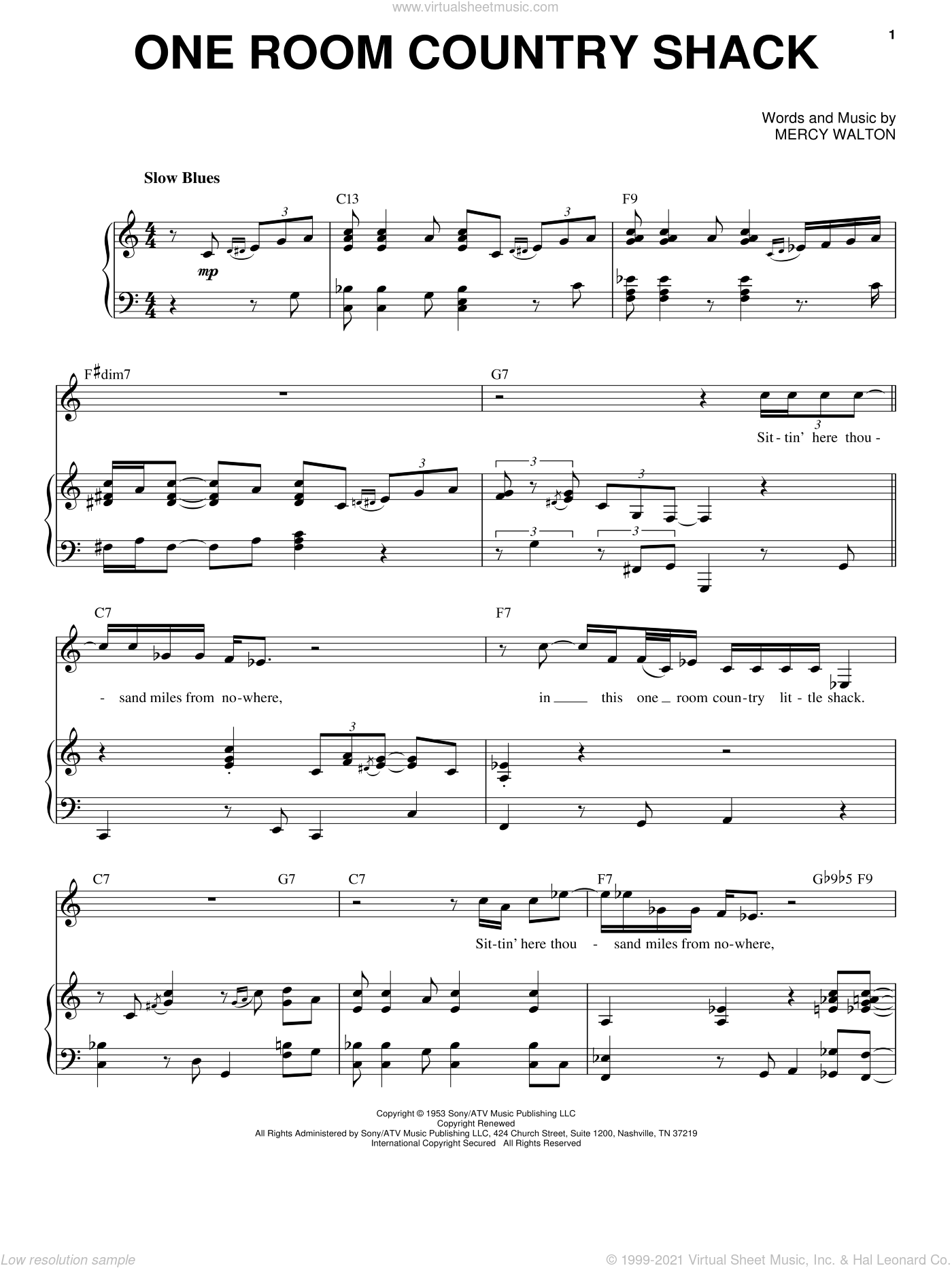 One Room Country Shack sheet music for voice and piano by Mose Allison and Mercy Walton, intermediate skill level