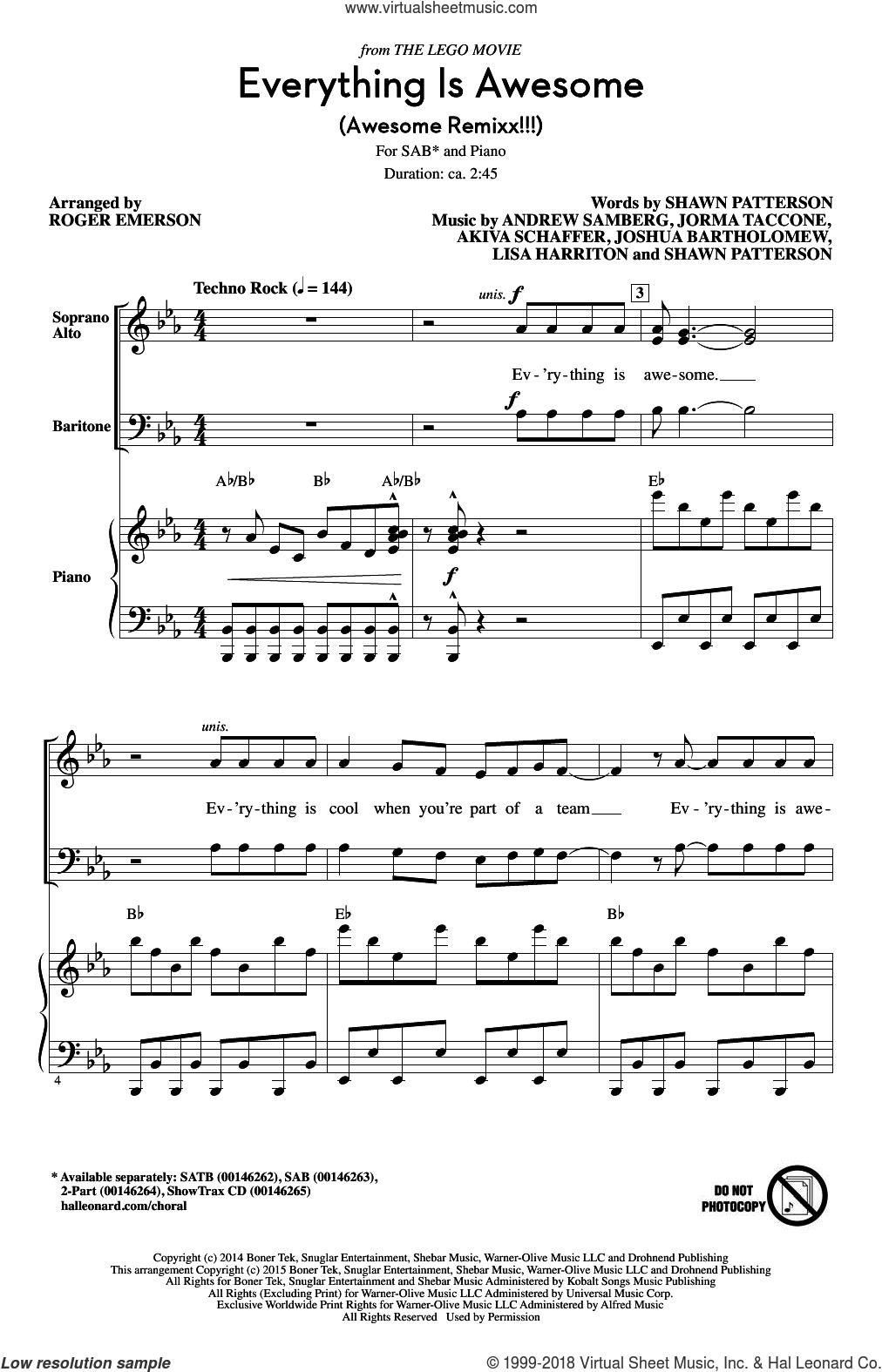Everything Is Awesome (Awesome Remixx!!!) sheet music for choir (SAB: soprano, alto, bass) by Roger Emerson, Akiva Schaffer, Andrew Samberg, Jorma Taccone, Joshua Bartholomew, Lisa Harriton and Shawn Patterson, intermediate skill level