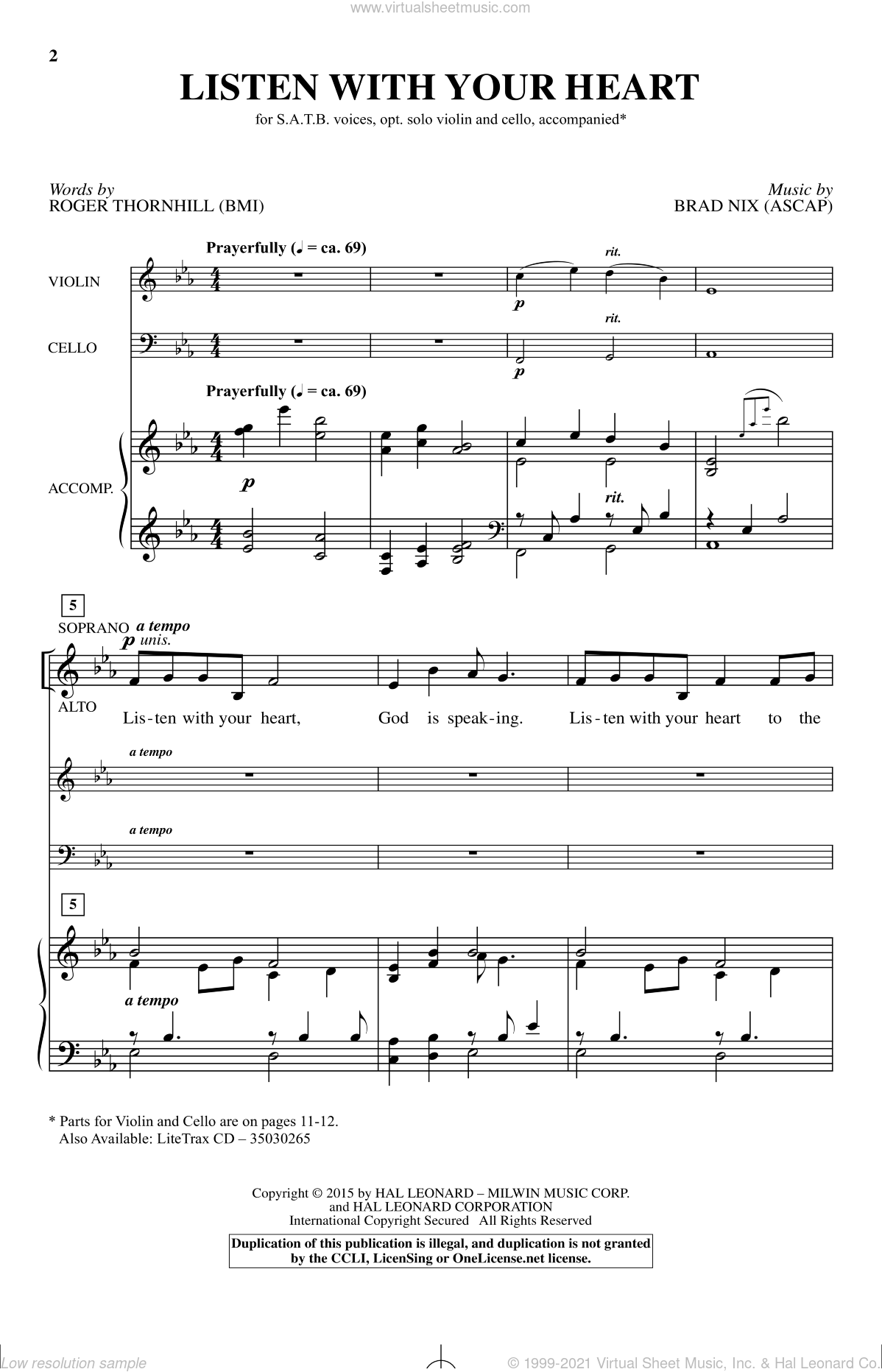Listen With Your Heart sheet music for choir by Brad Nix and Roger Thornhill. Score Image Preview.