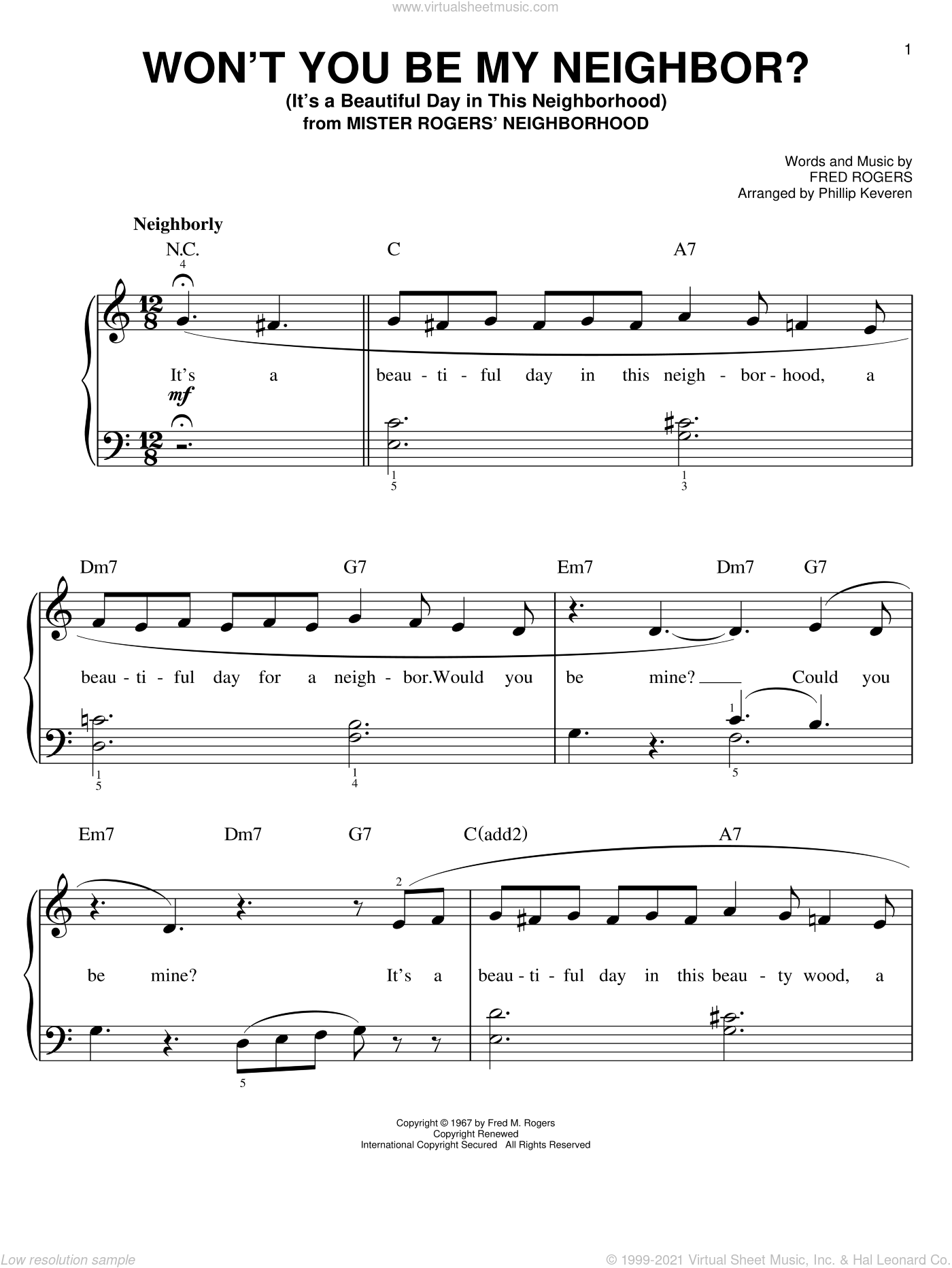 Won't You Be My Neighbor? (It's A Beautiful Day In The Neighborhood) sheet music for piano solo by Fred Rogers and Phillip Keveren. Score Image Preview.