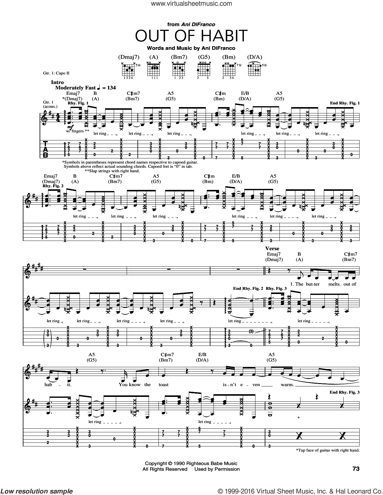 Out Of Habit sheet music for guitar (tablature) by Ani DiFranco. Score Image Preview.
