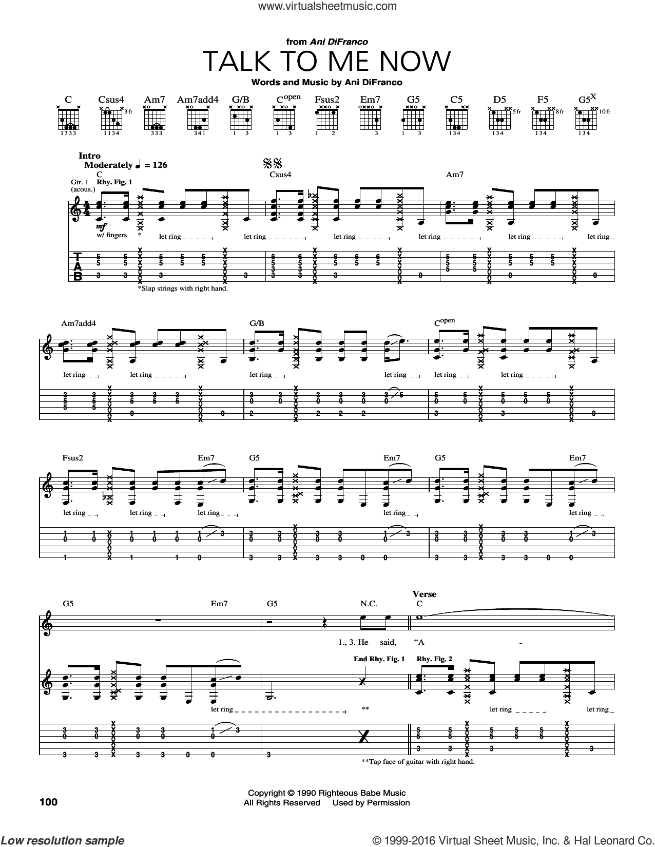 Talk To Me Now sheet music for guitar (tablature) by Ani DiFranco. Score Image Preview.