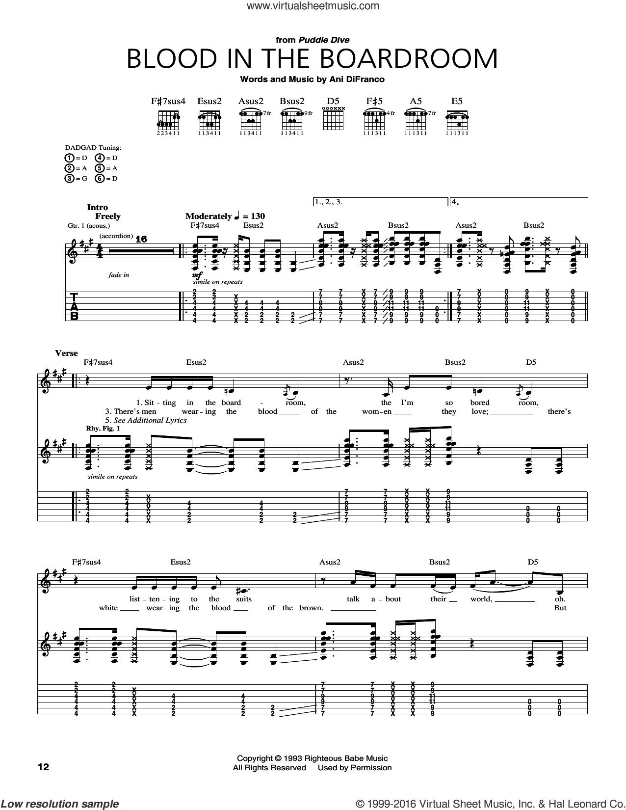 Blood In The Boardroom sheet music for guitar (tablature) by Ani DiFranco. Score Image Preview.