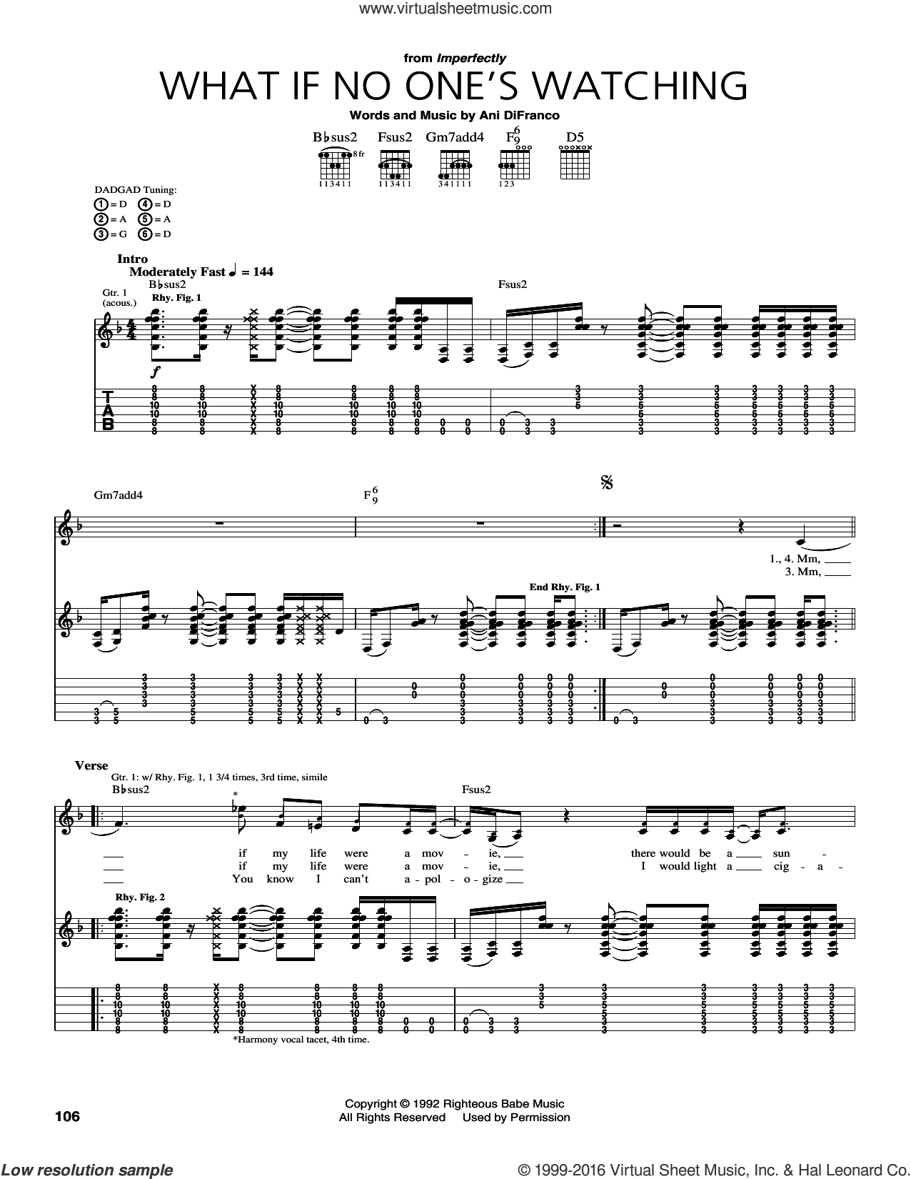 What If No One's Watching sheet music for guitar (tablature) by Ani DiFranco, intermediate