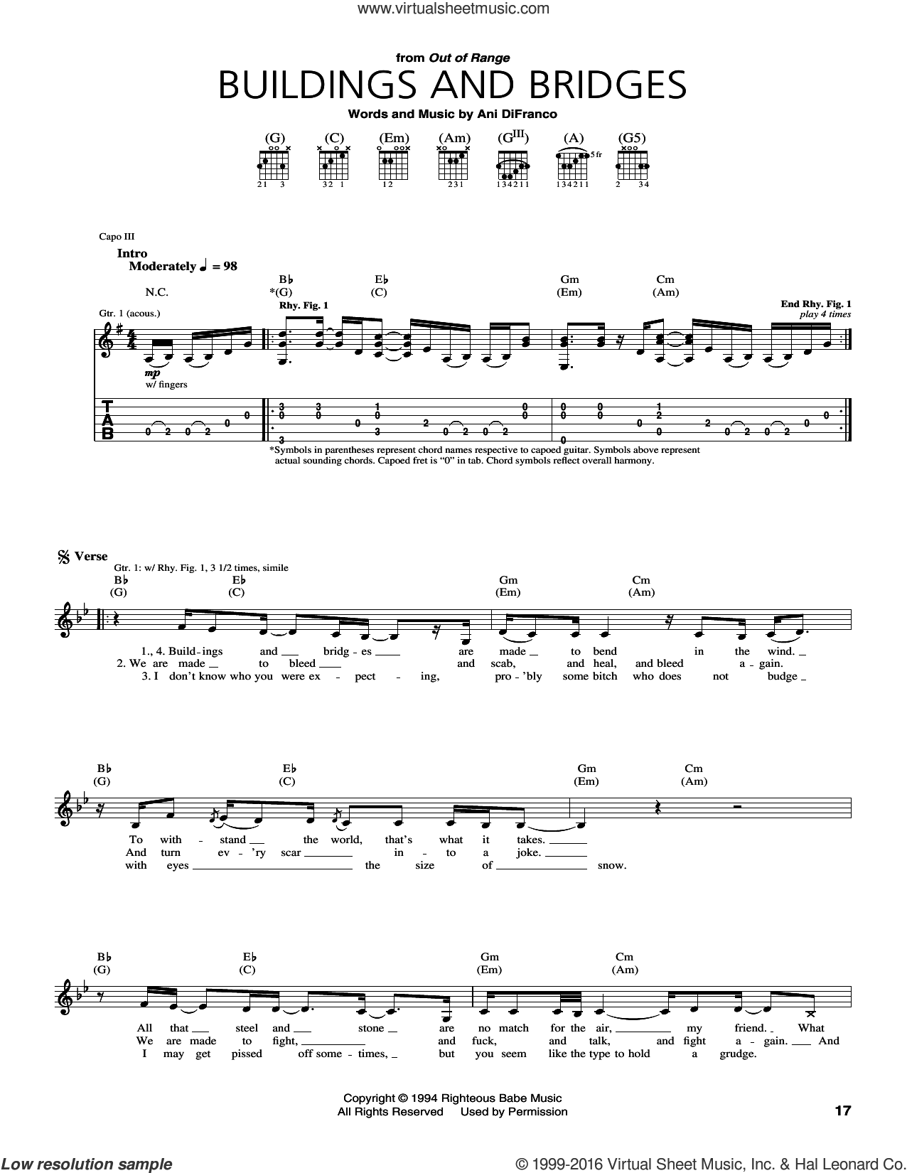 Buildings and Bridges sheet music for guitar (tablature) by Ani DiFranco, intermediate. Score Image Preview.