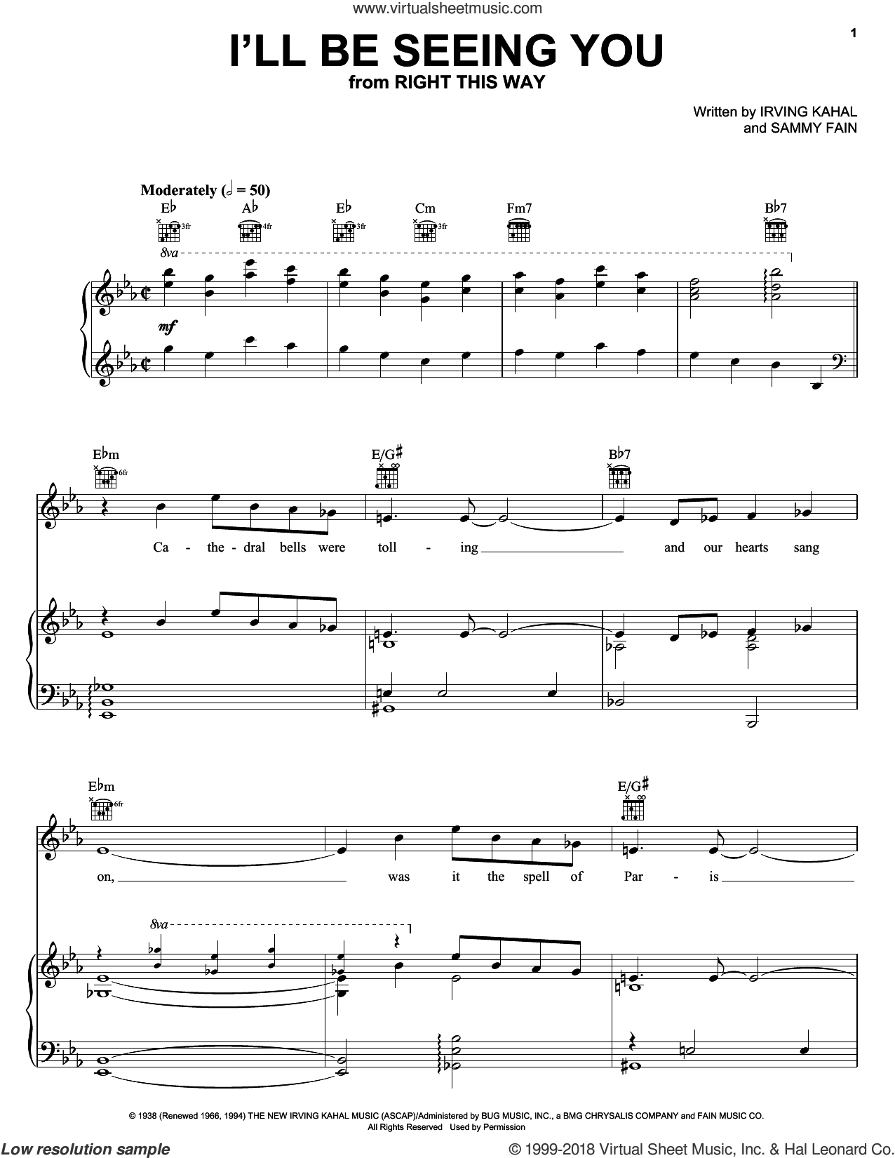 I'll Be Seeing You sheet music for voice, piano or guitar by Frank Sinatra, Irving Kahal and Sammy Fain, intermediate skill level