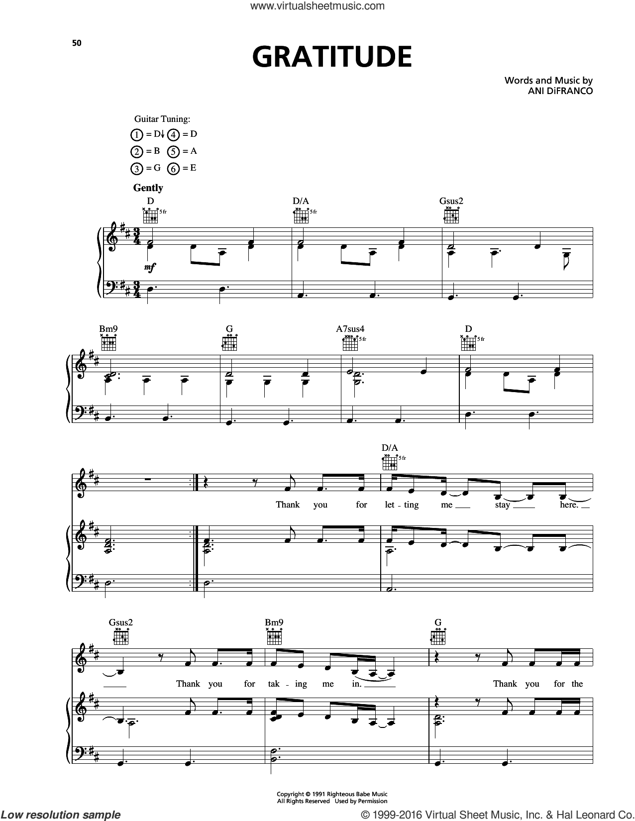 Gratitude sheet music for voice, piano or guitar by Ani DiFranco. Score Image Preview.
