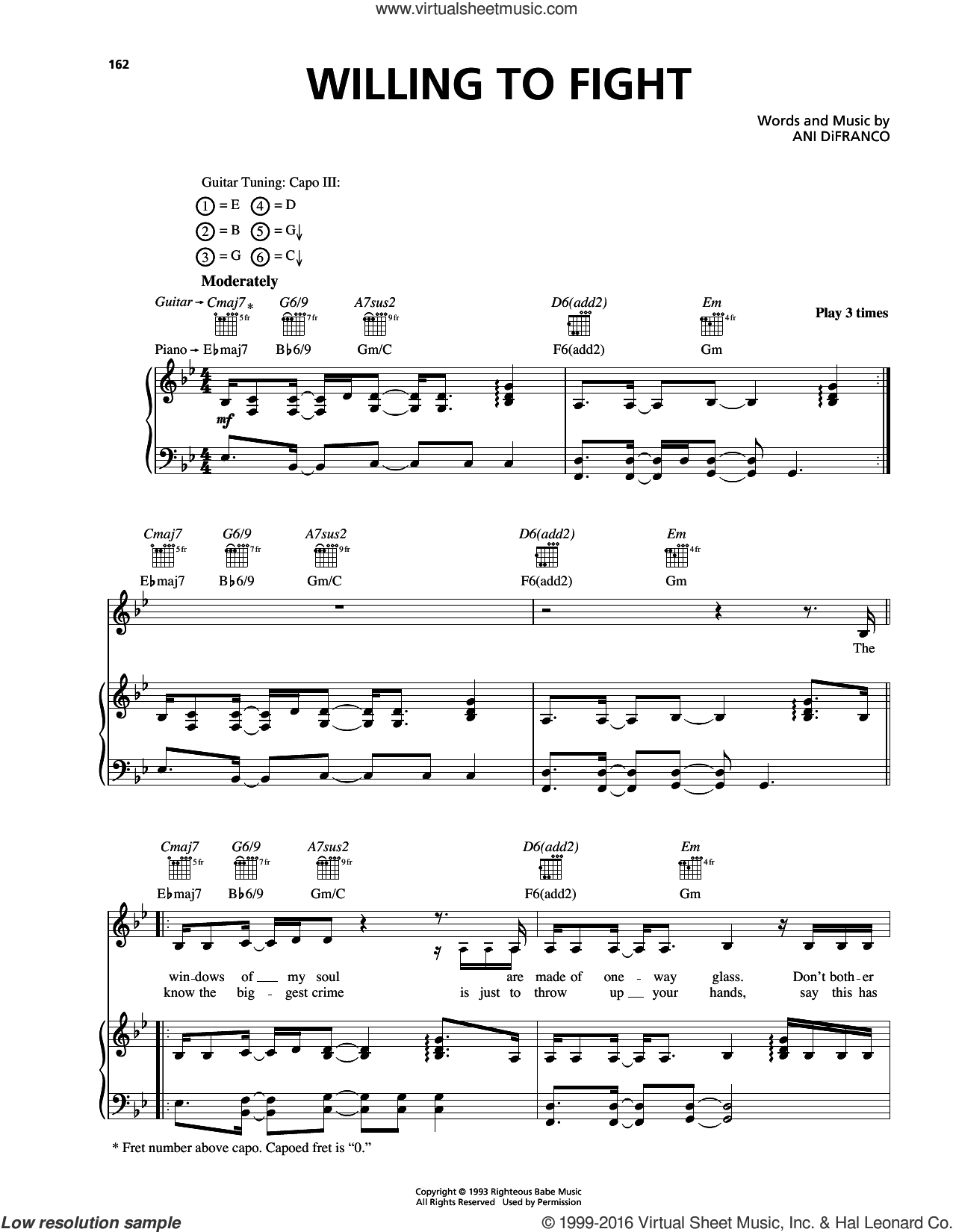 Willing To Fight sheet music for voice, piano or guitar by Ani DiFranco. Score Image Preview.