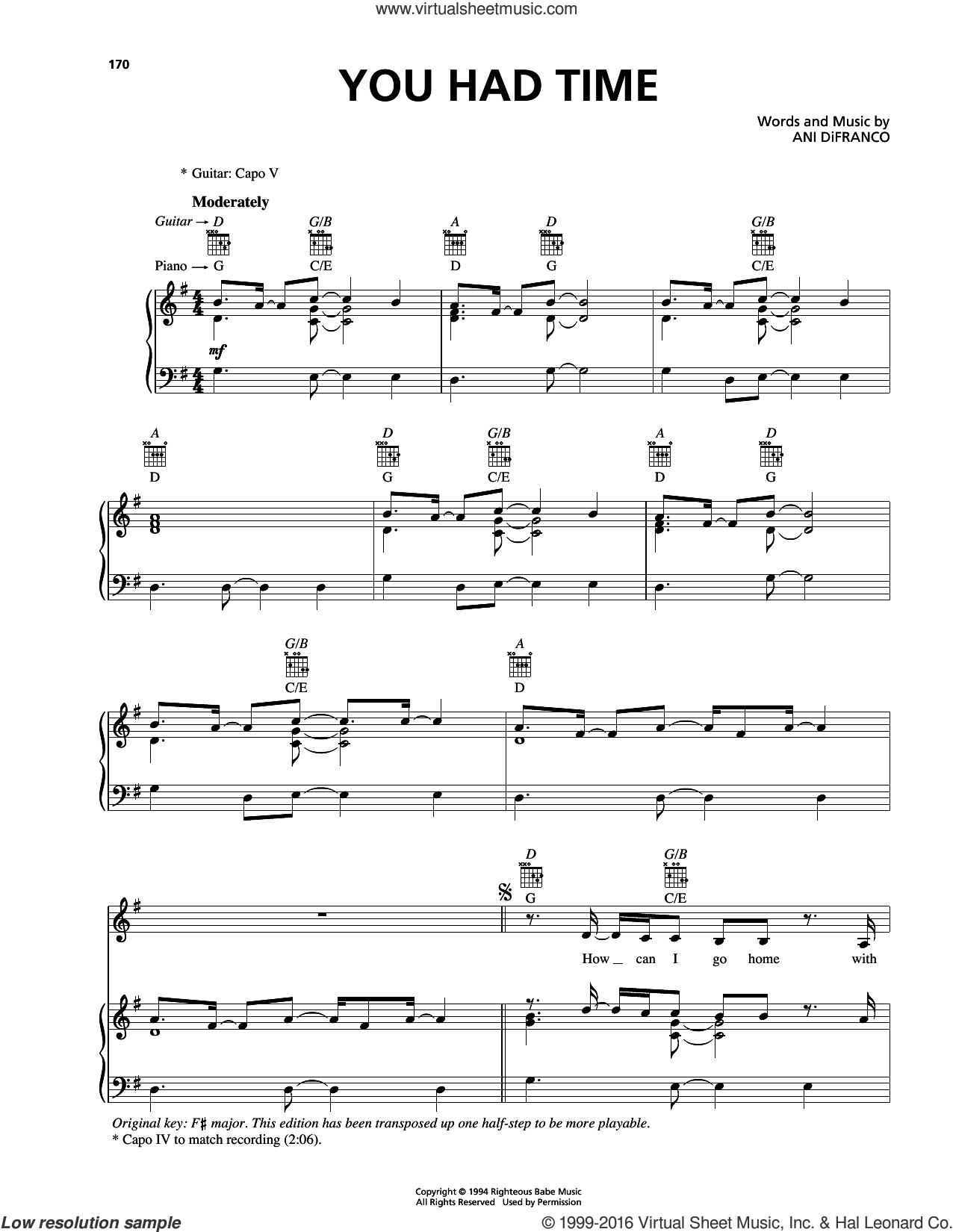 You Had Time sheet music for voice, piano or guitar by Ani DiFranco, intermediate skill level