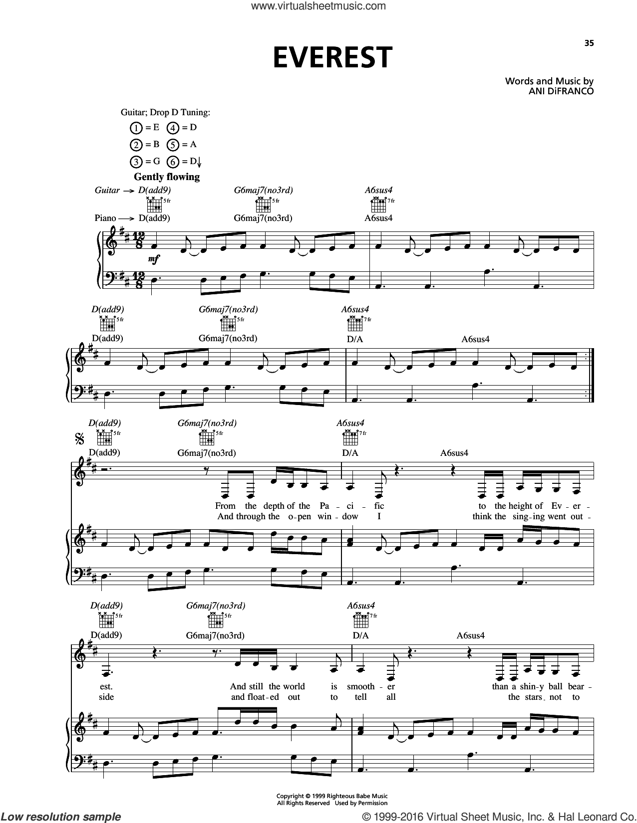 Everest sheet music for voice, piano or guitar by Ani DiFranco, intermediate skill level