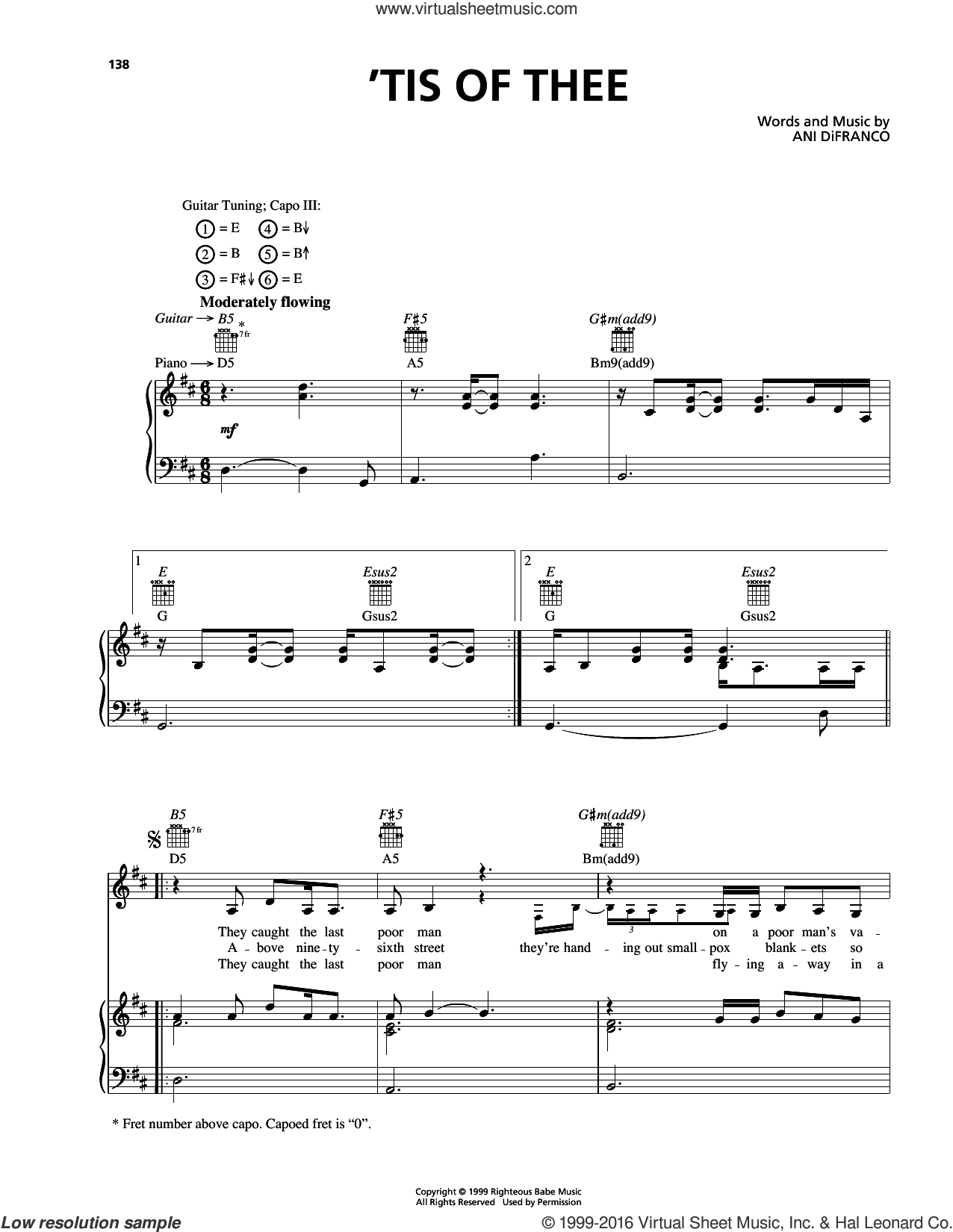 'Tis Of Thee sheet music for voice, piano or guitar by Ani DiFranco. Score Image Preview.