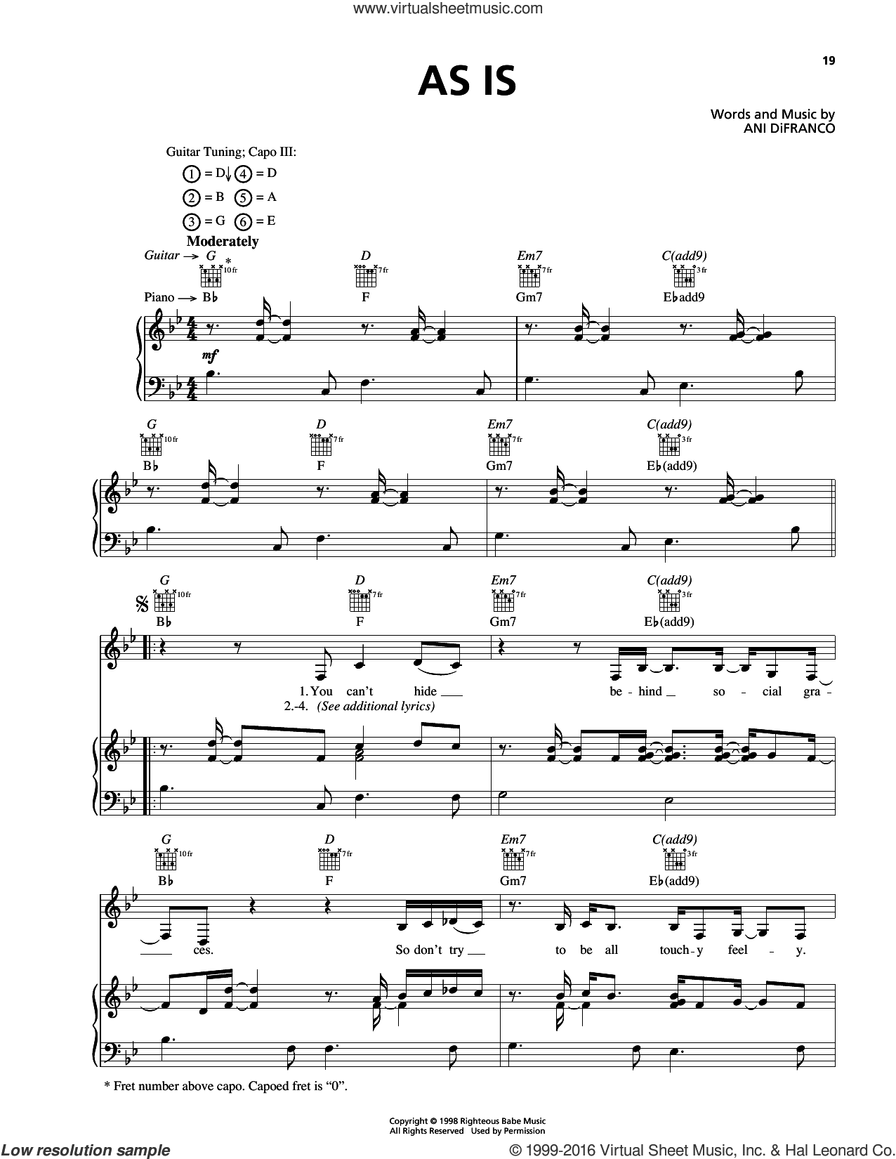 As Is sheet music for voice, piano or guitar by Ani DiFranco, intermediate skill level