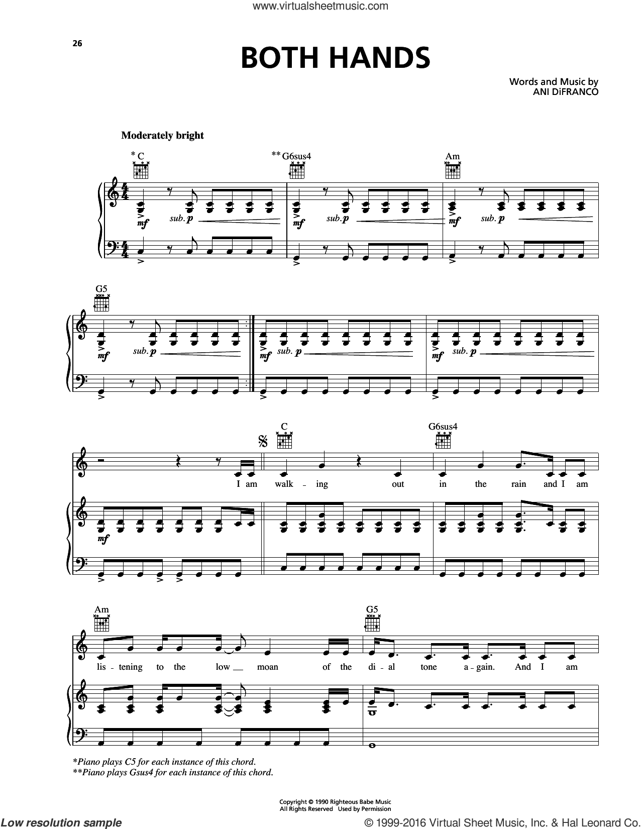 Both Hands sheet music for voice, piano or guitar by Ani DiFranco. Score Image Preview.